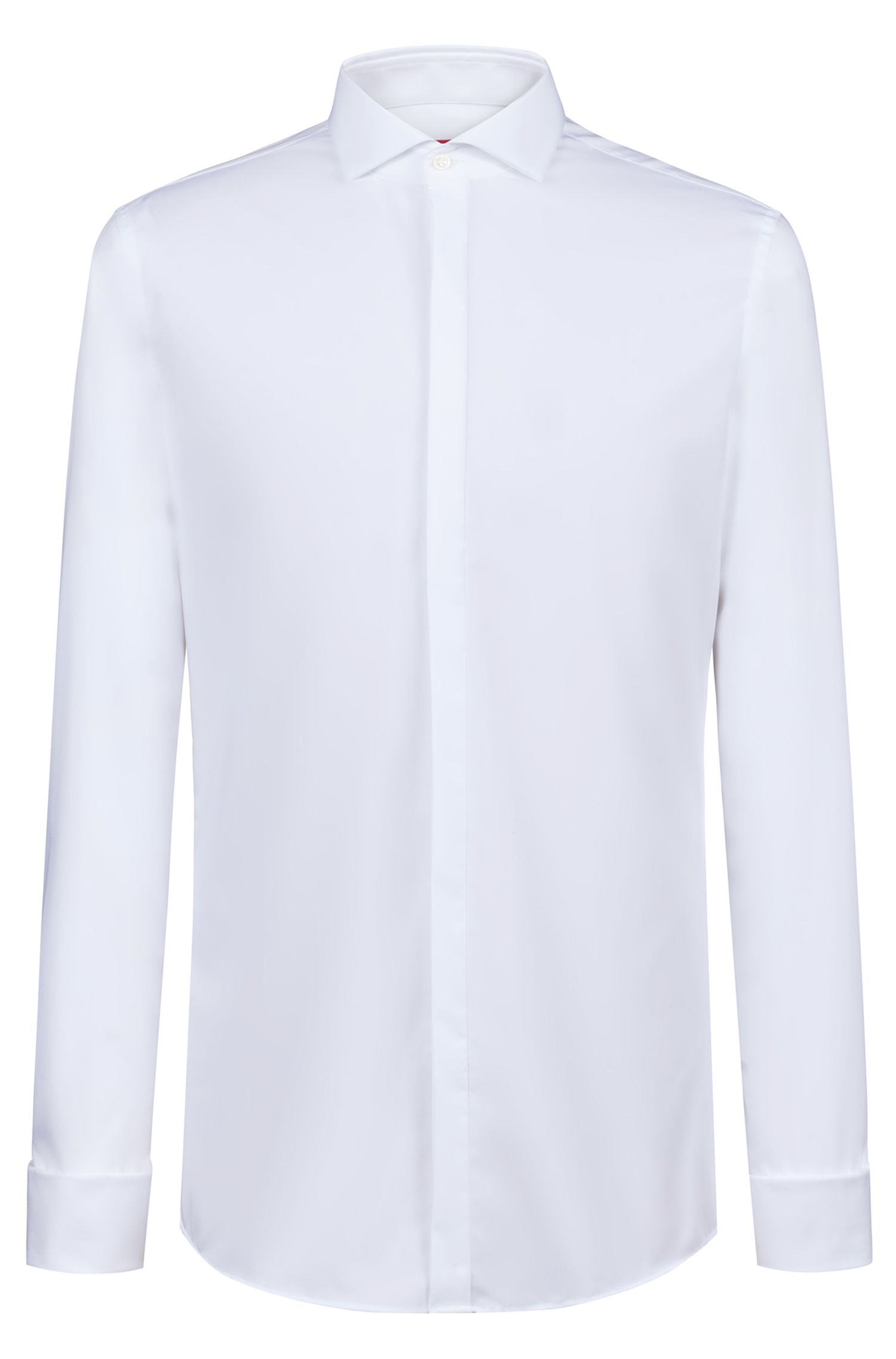 Slim-fit shirt with spread collar and double cuffs, White