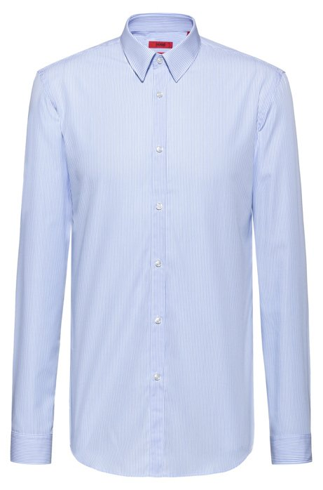 Slim-fit shirt in easy-iron striped cotton, Patterned