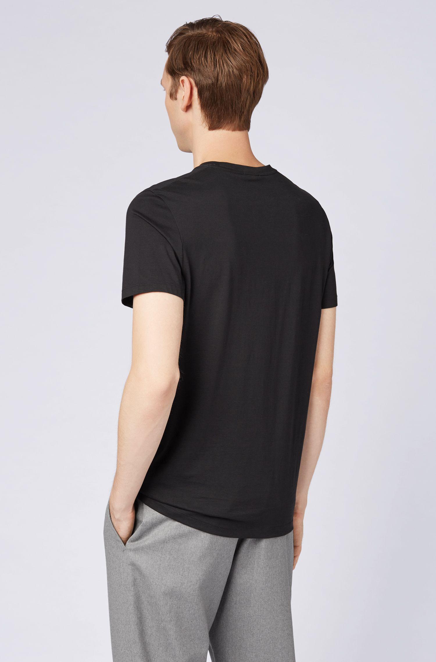 Slim-fit Pima cotton T-shirt with photographic print, Black