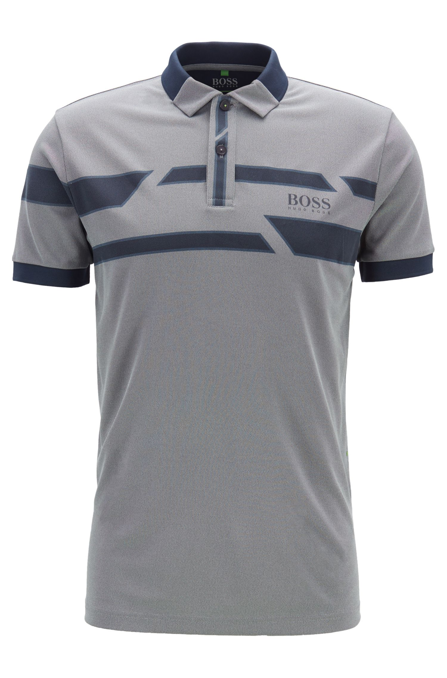 Printed polo shirt in moisture-wicking Oxford fabric, Grey