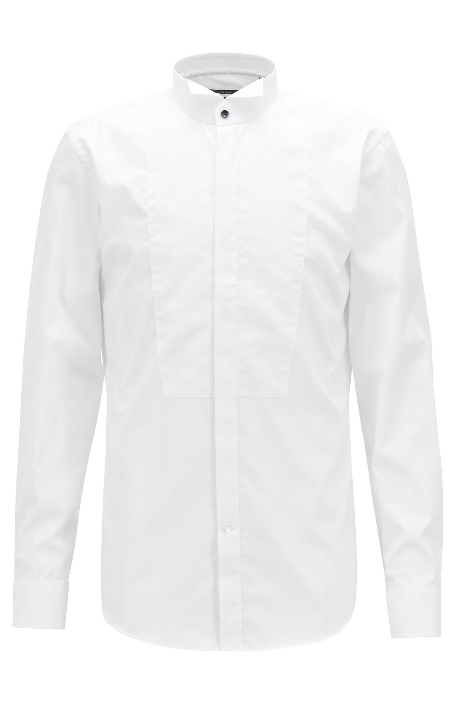 Slim-fit smokingoverhemd van gemakkelijk te strijken Oostenrijkse katoen, Wit