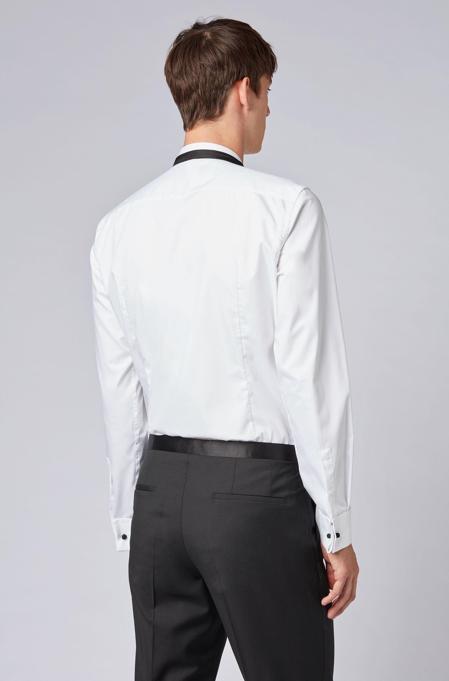 Camicia elegante slim fit in cotone facile da stirare realizzato in Austria, Bianco