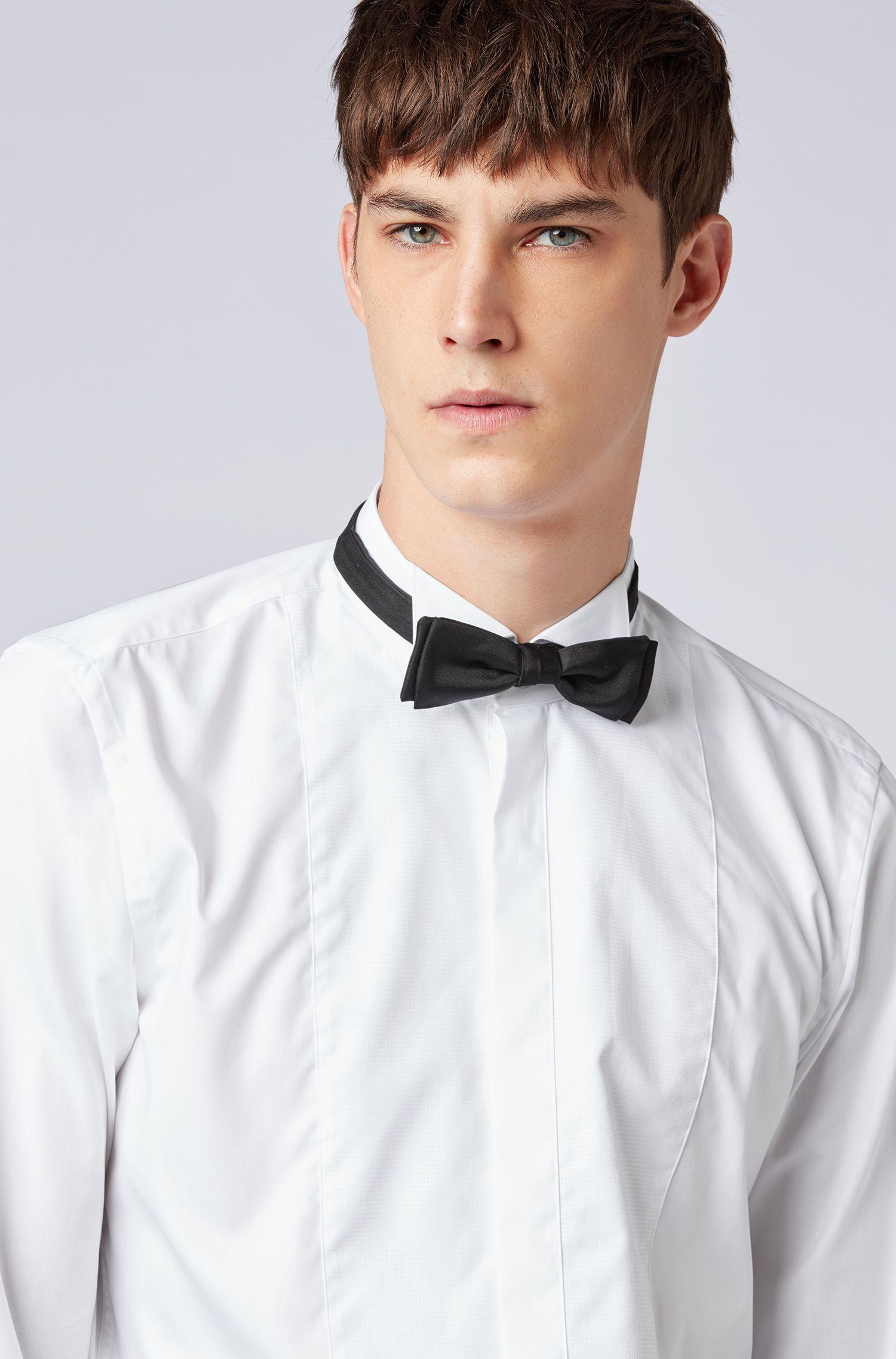 Slim-Fit Hemd aus bügelleichter österreichischer Baumwolle, Weiß