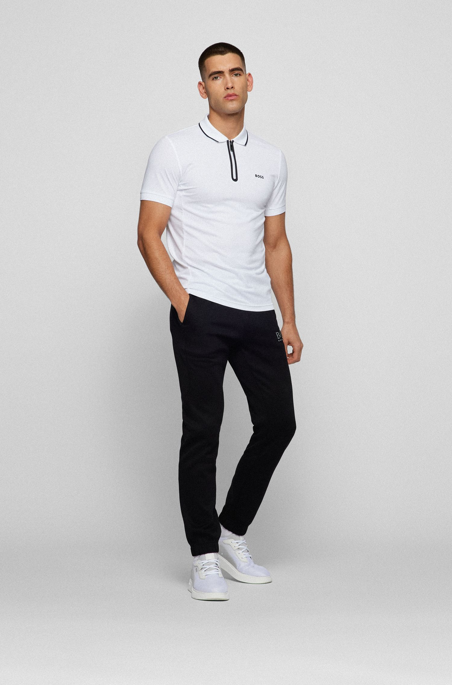 Slim-fit tracksuit bottoms with reflective detailing, Black
