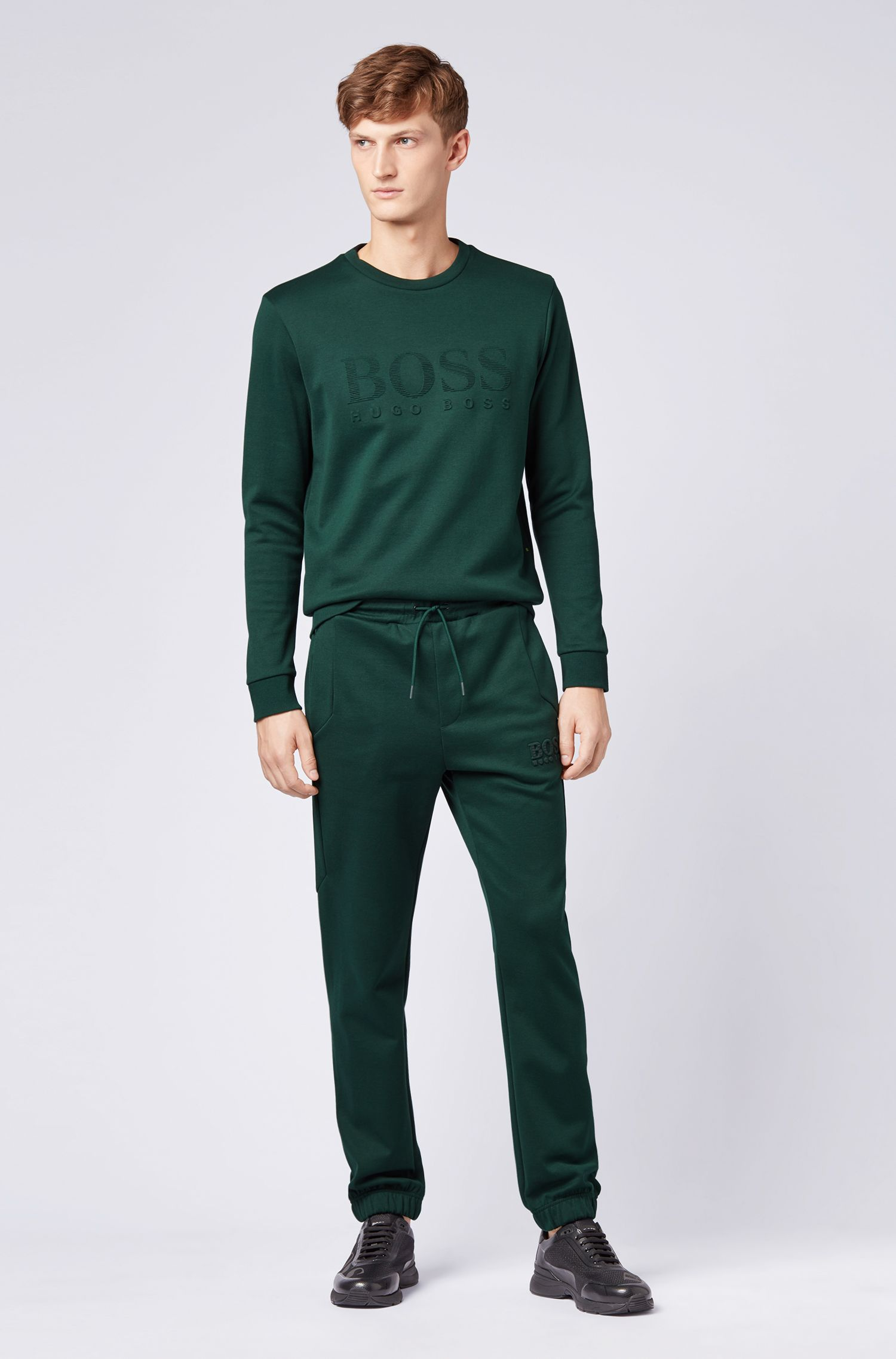 Slim-fit tracksuit bottoms with reflective detailing, Open Green