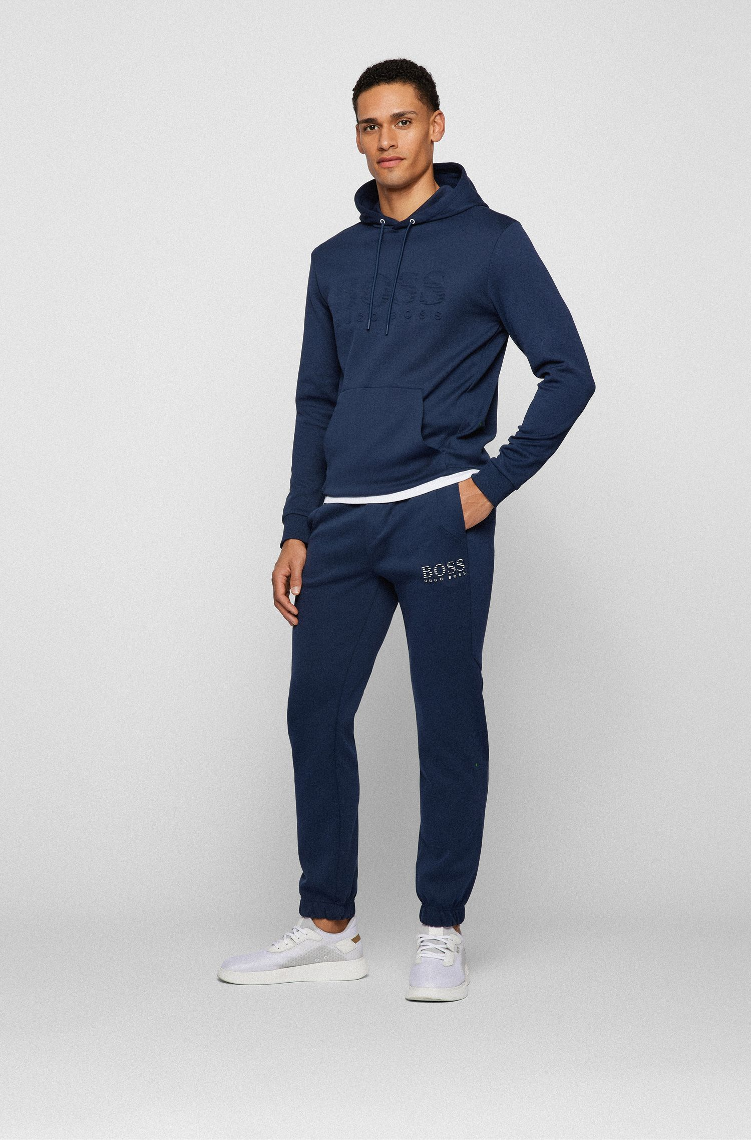 Slim-fit tracksuit bottoms with reflective detailing, Dark Blue
