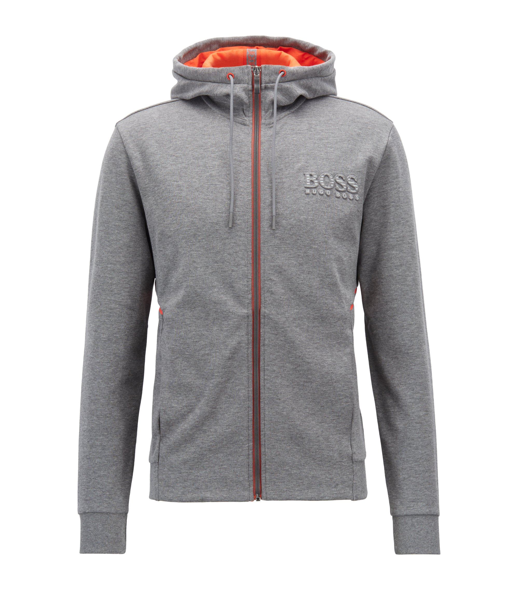 Hooded sweatshirt with logo and reflective detailing, Grau