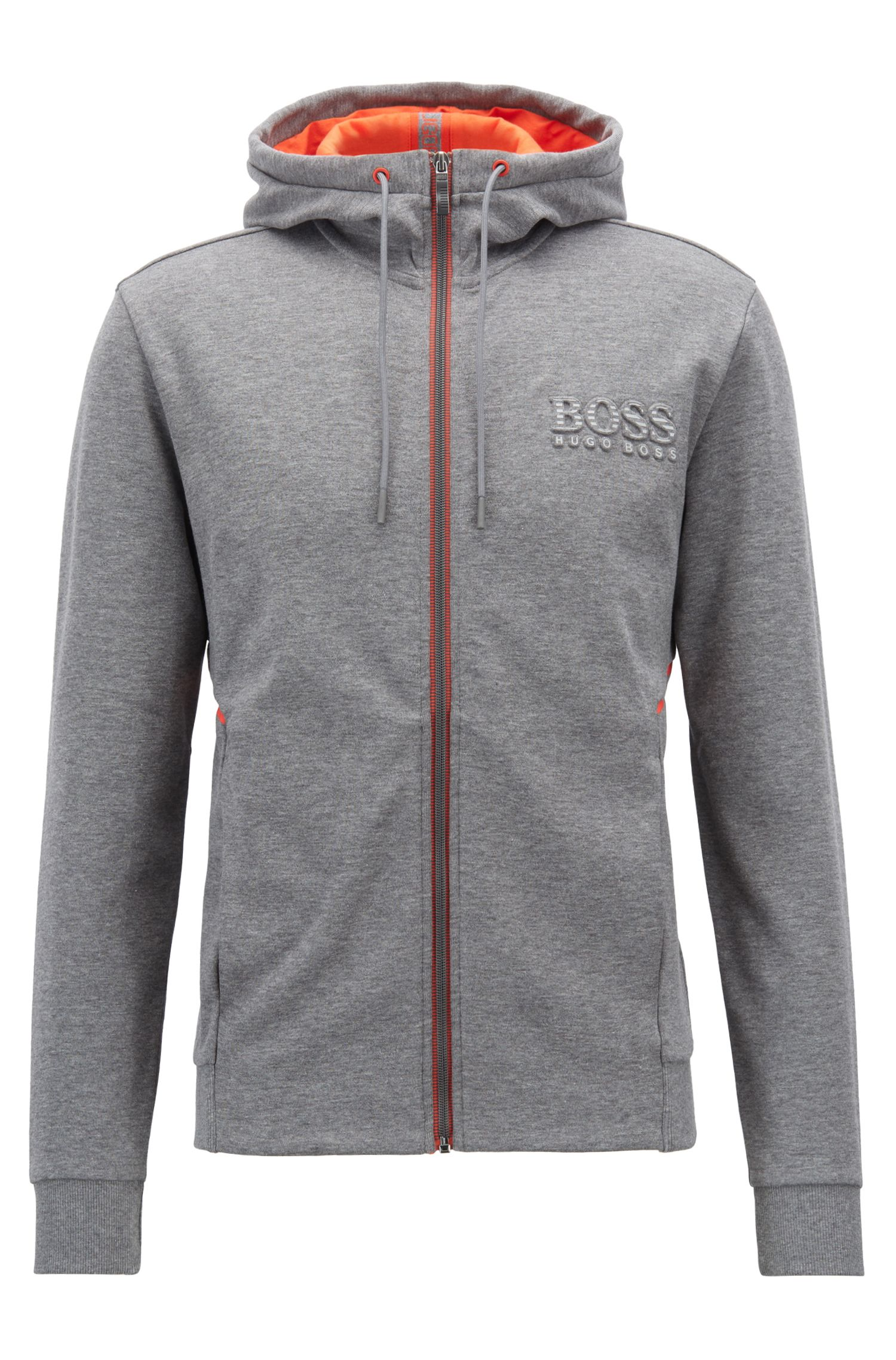 Hooded sweatshirt with logo and reflective detailing, Grey