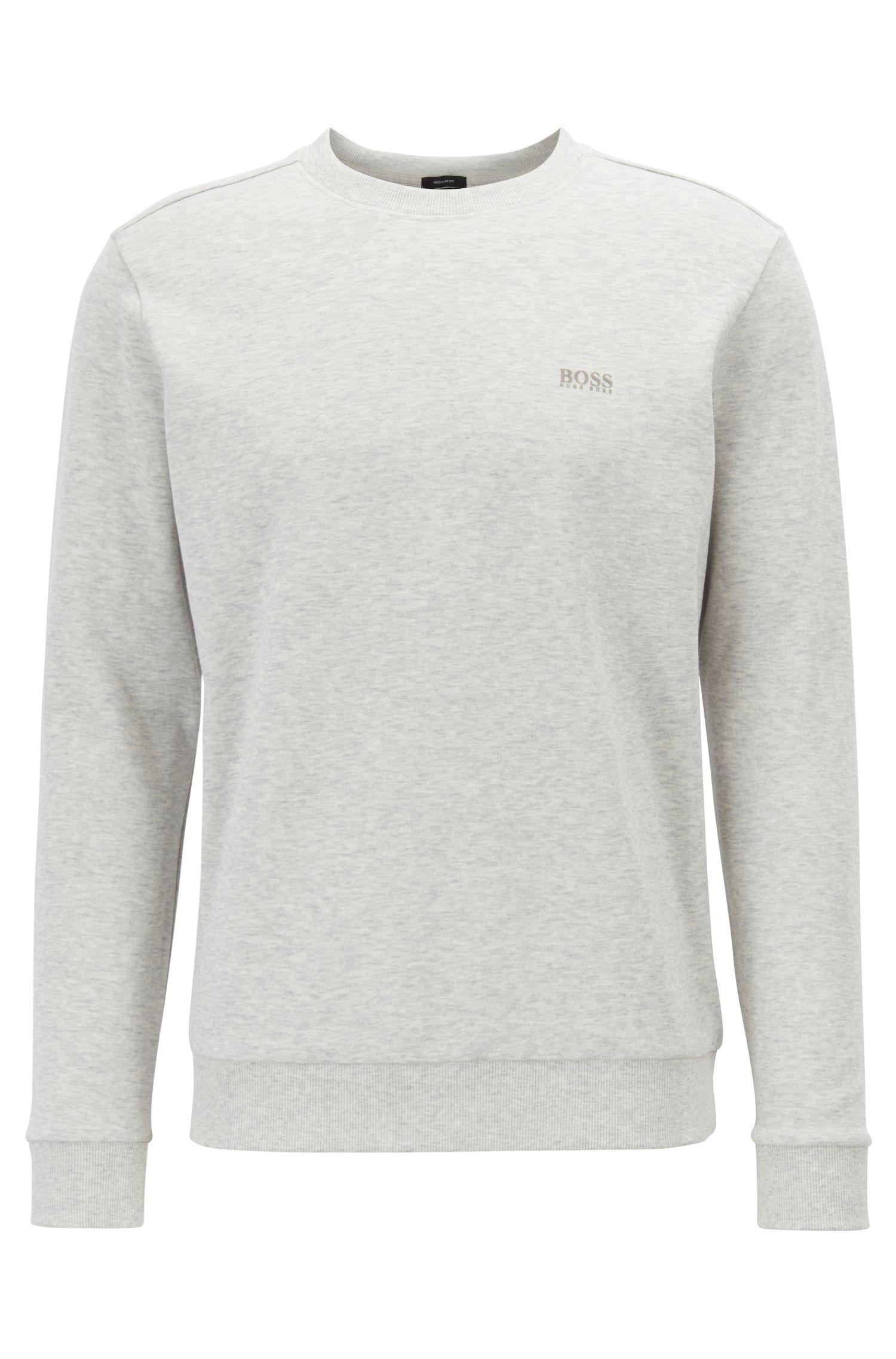 Regular-fit sweatshirt with contrast logo, Light Grey