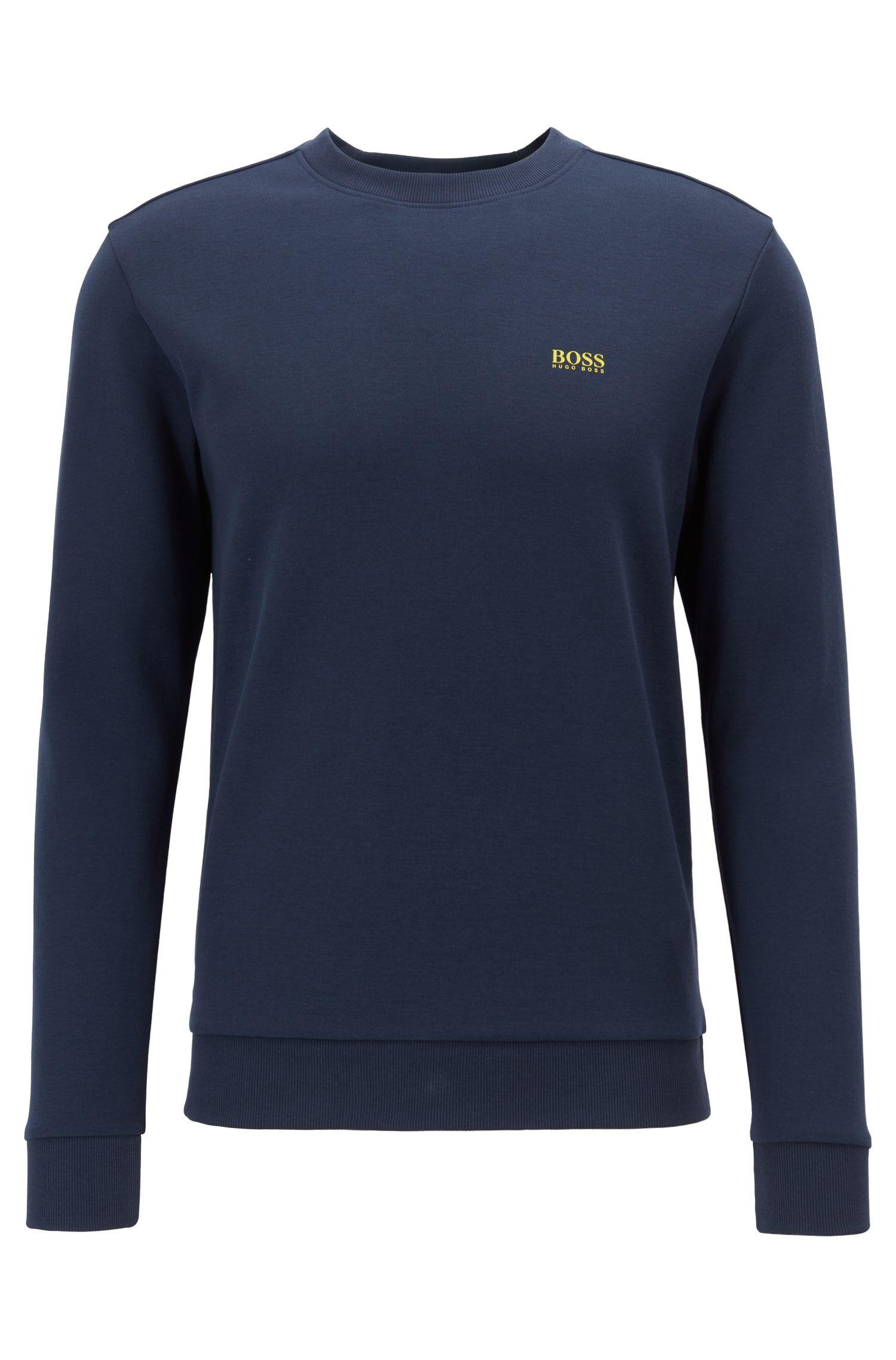 Sudadera regular fit con logo en contraste, Azul oscuro