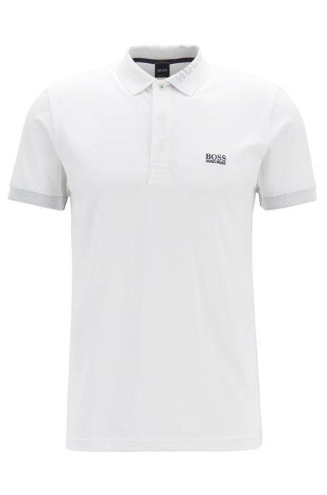 Piqué-Poloshirt mit S.Café® und Logo-Dessin am Kragen, Weiß