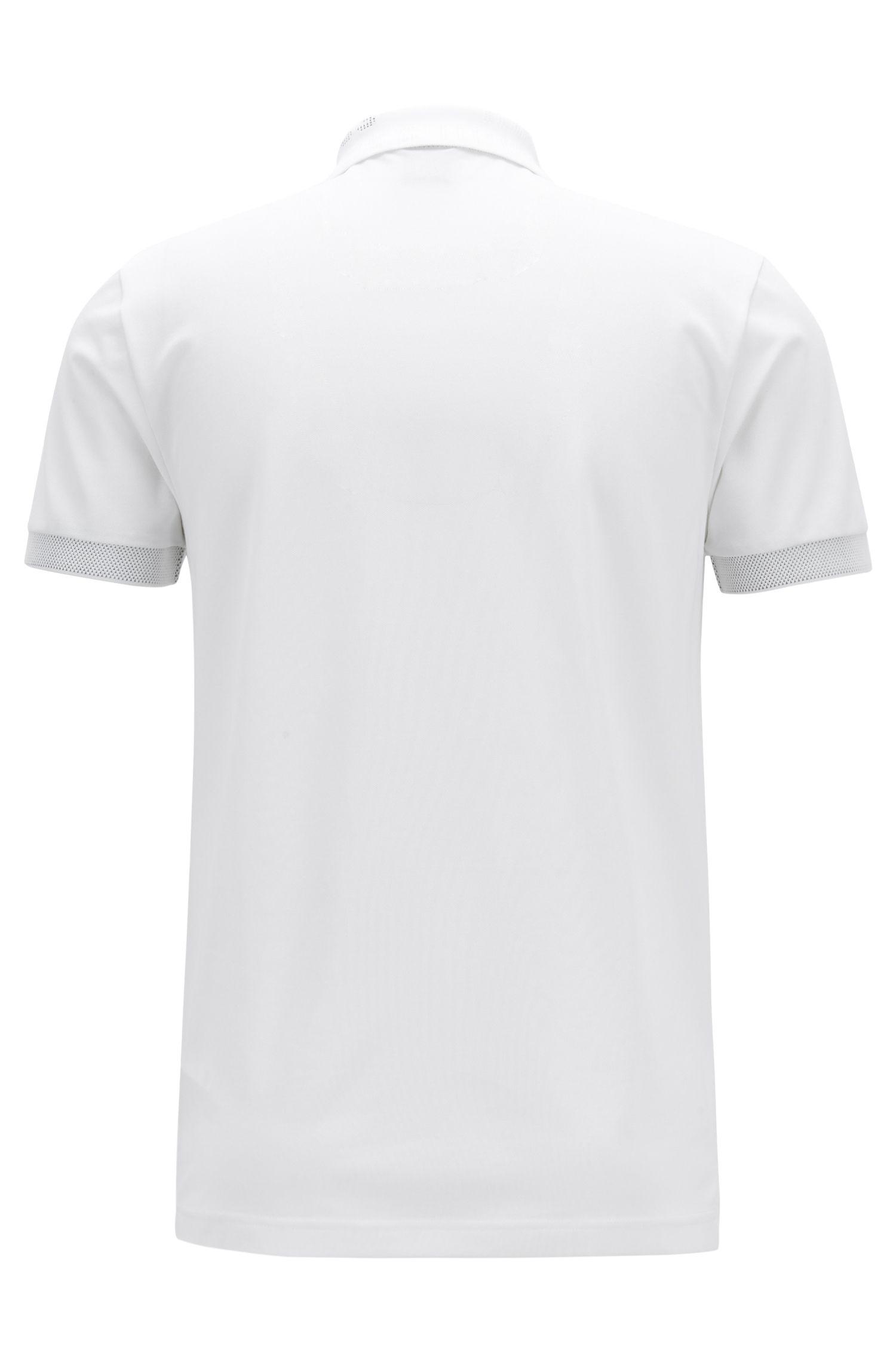 Polo slim fit con tratamiento S.Café® y logo de punto en el cuello, Blanco