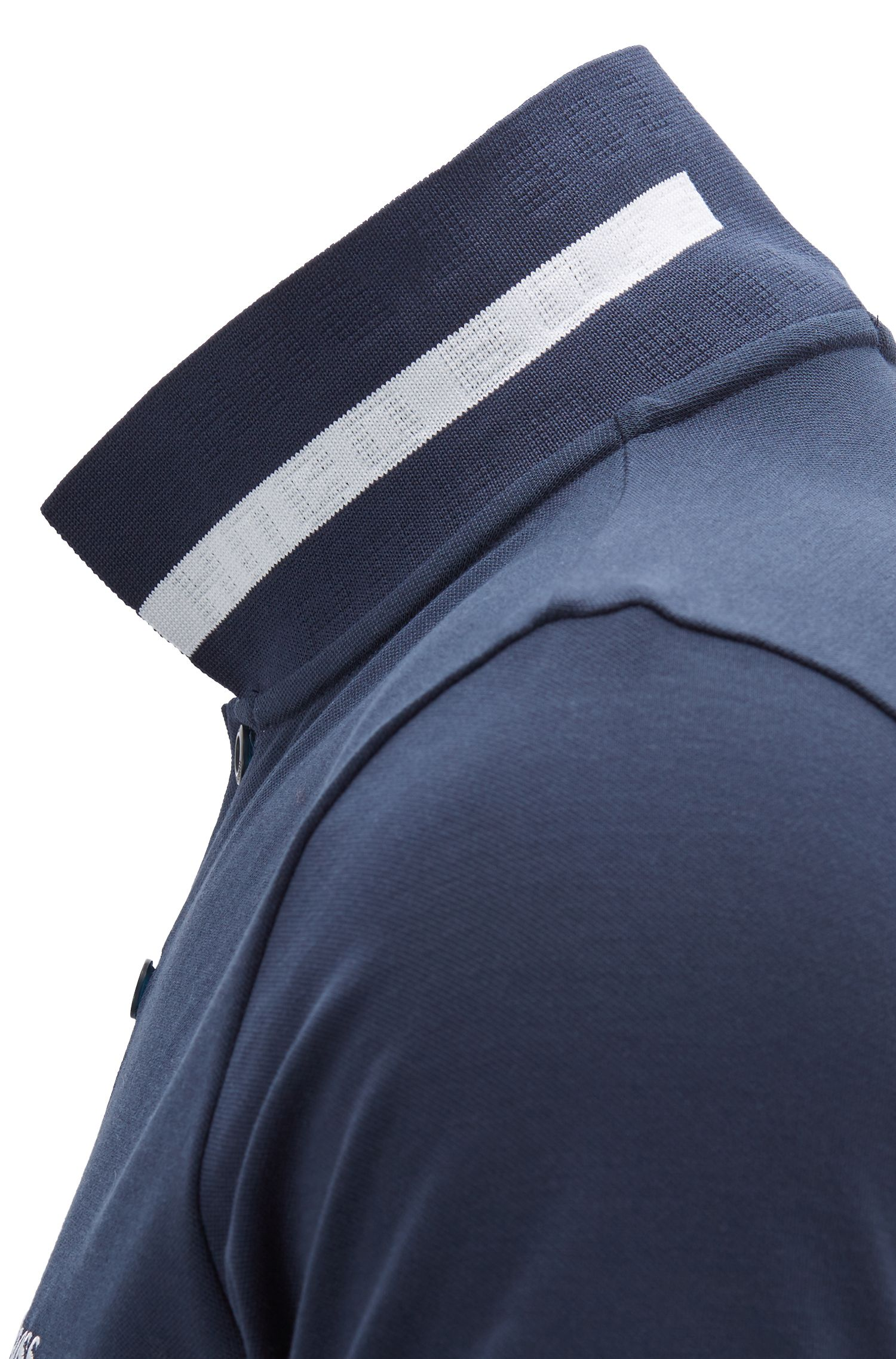 Slim-fit polo shirt with S.Café® and logo-knit collar, Dark Blue
