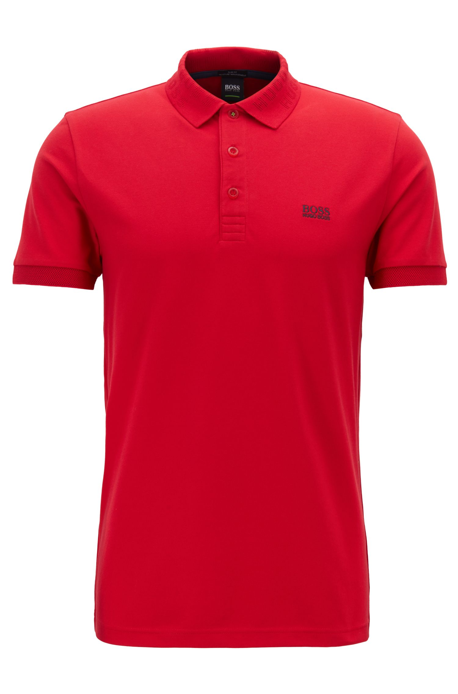 Slim-fit polo shirt with S.Café® and logo-knit collar, Red