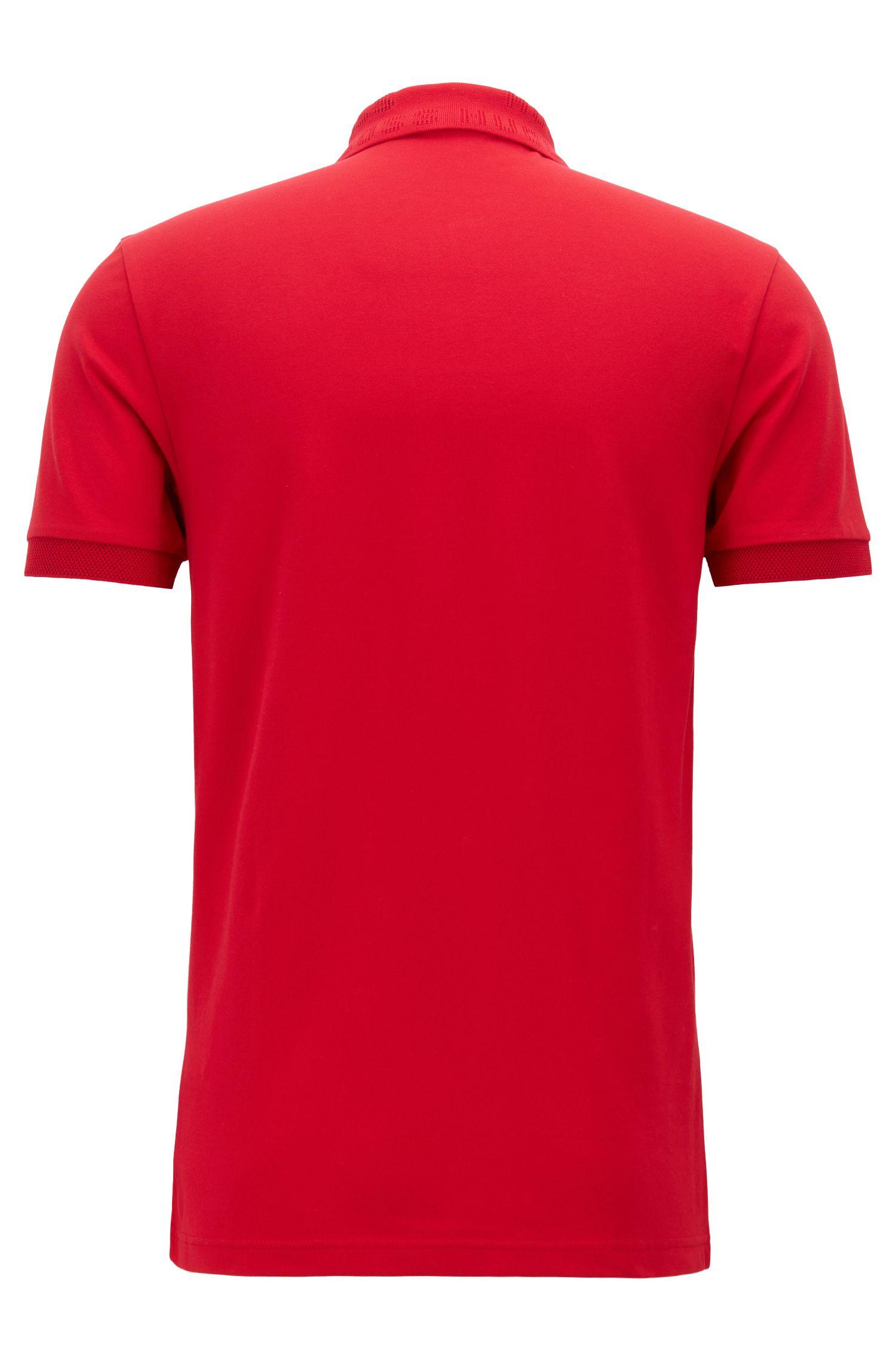 Polo Slim Fit à col en maille logo, avec la technologie S.Café®, Rouge