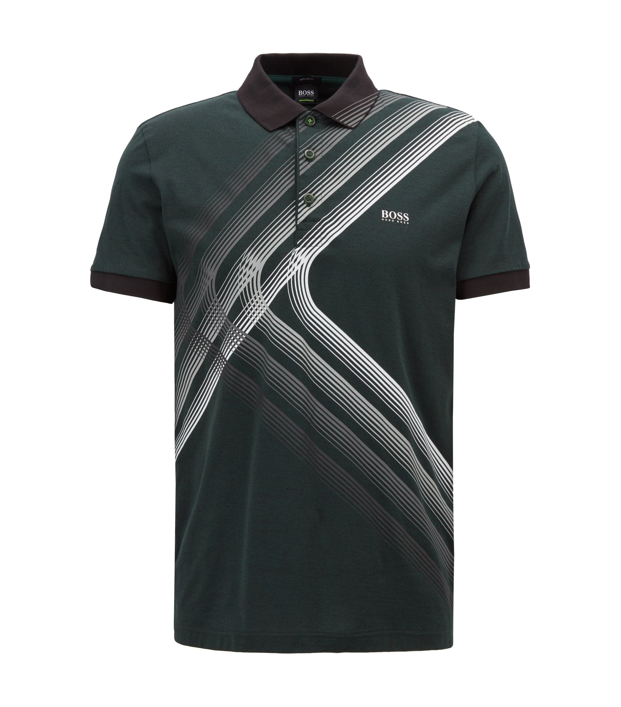 "Poloshirt aus Single Jersey mit ""City Lights""-Print, Dunkelgrün"