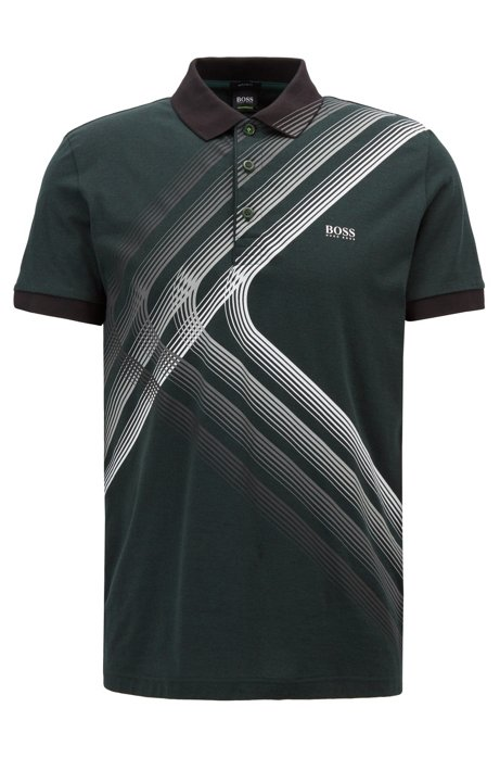 Cotton-jersey polo shirt with city lights artwork, Dark Green