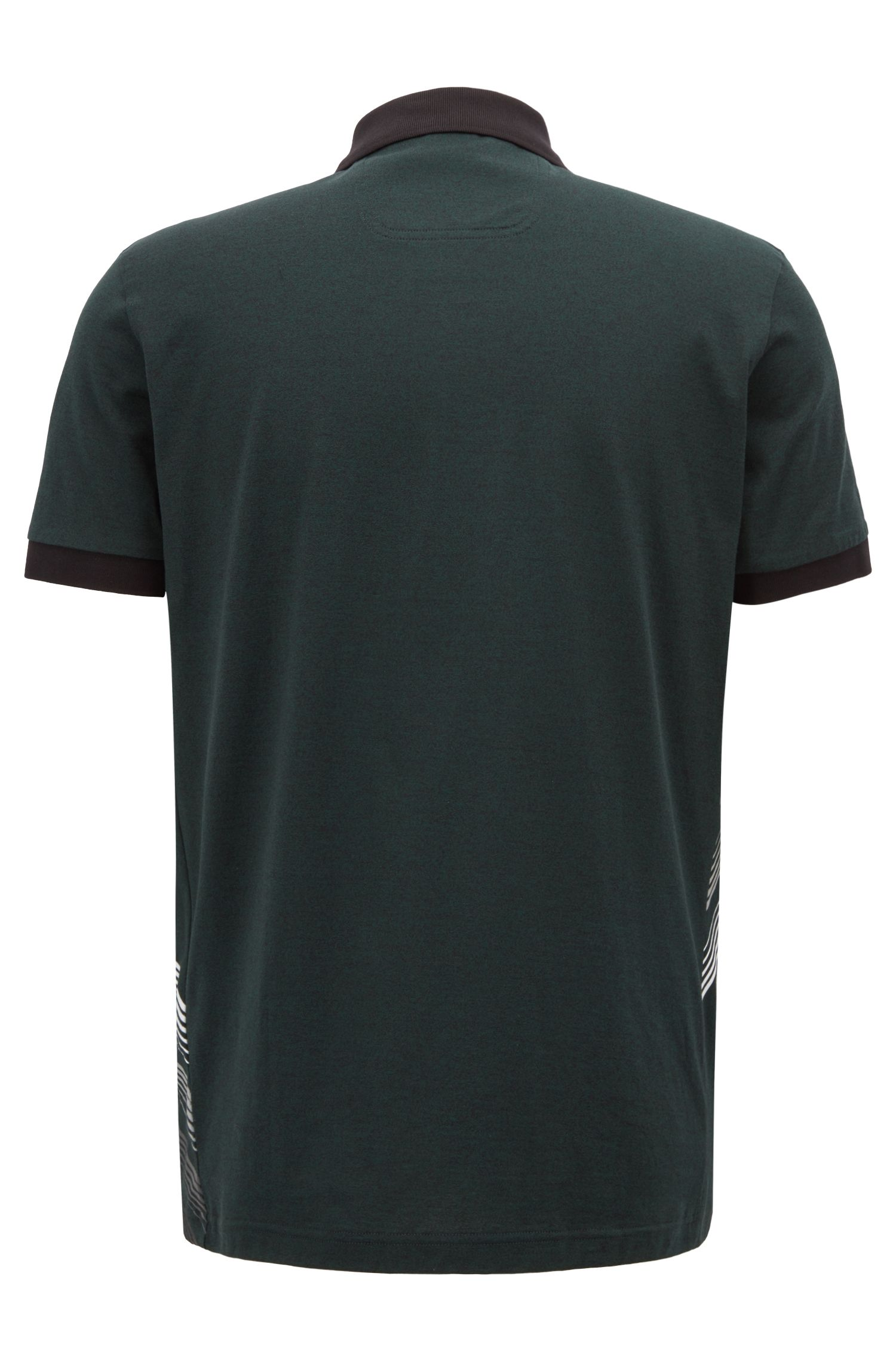 Regular-fit polo shirt with 'city lights' print, Dark Green