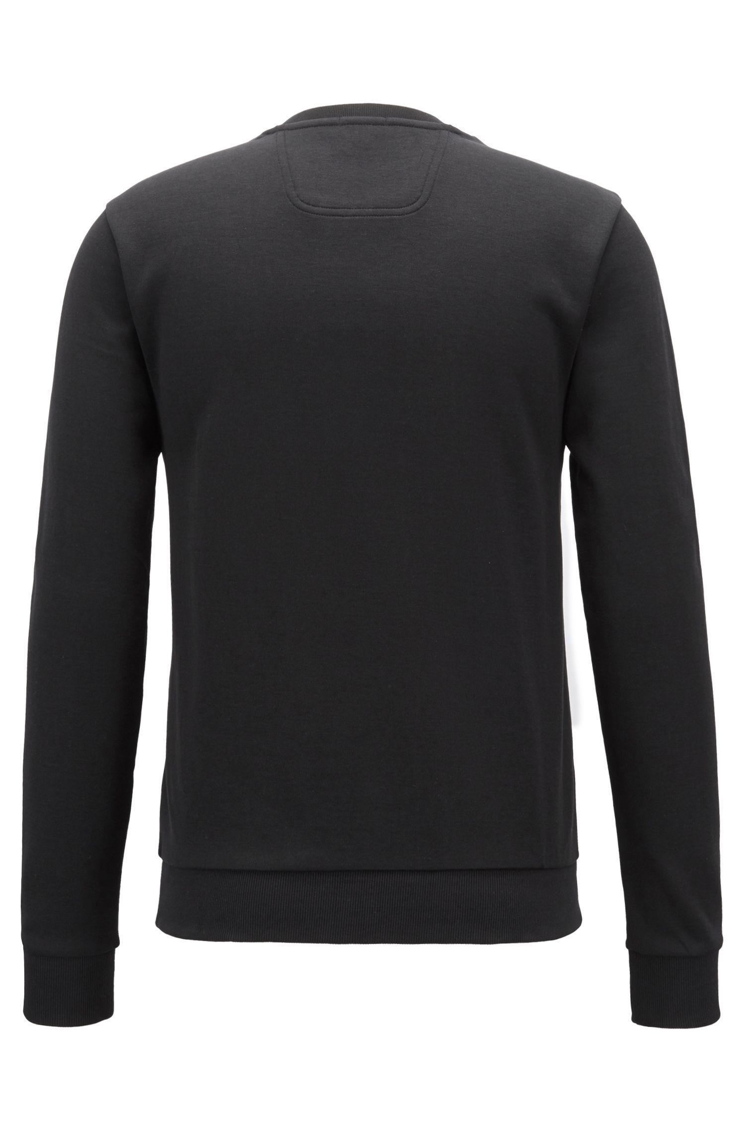 Slim-fit sweater met ton-sur-ton reliëflogo, Zwart