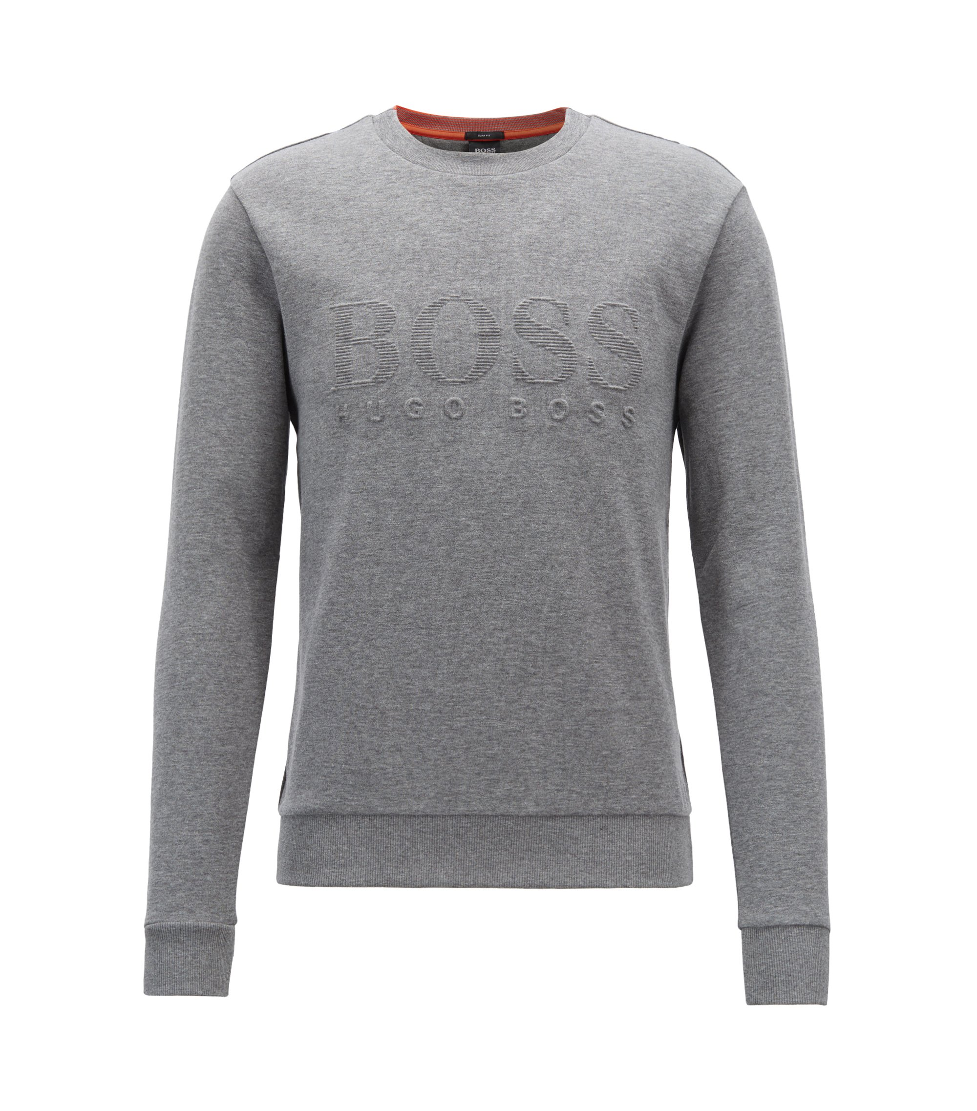 Slim-fit sweatshirt with tonal embossed logo, Grau