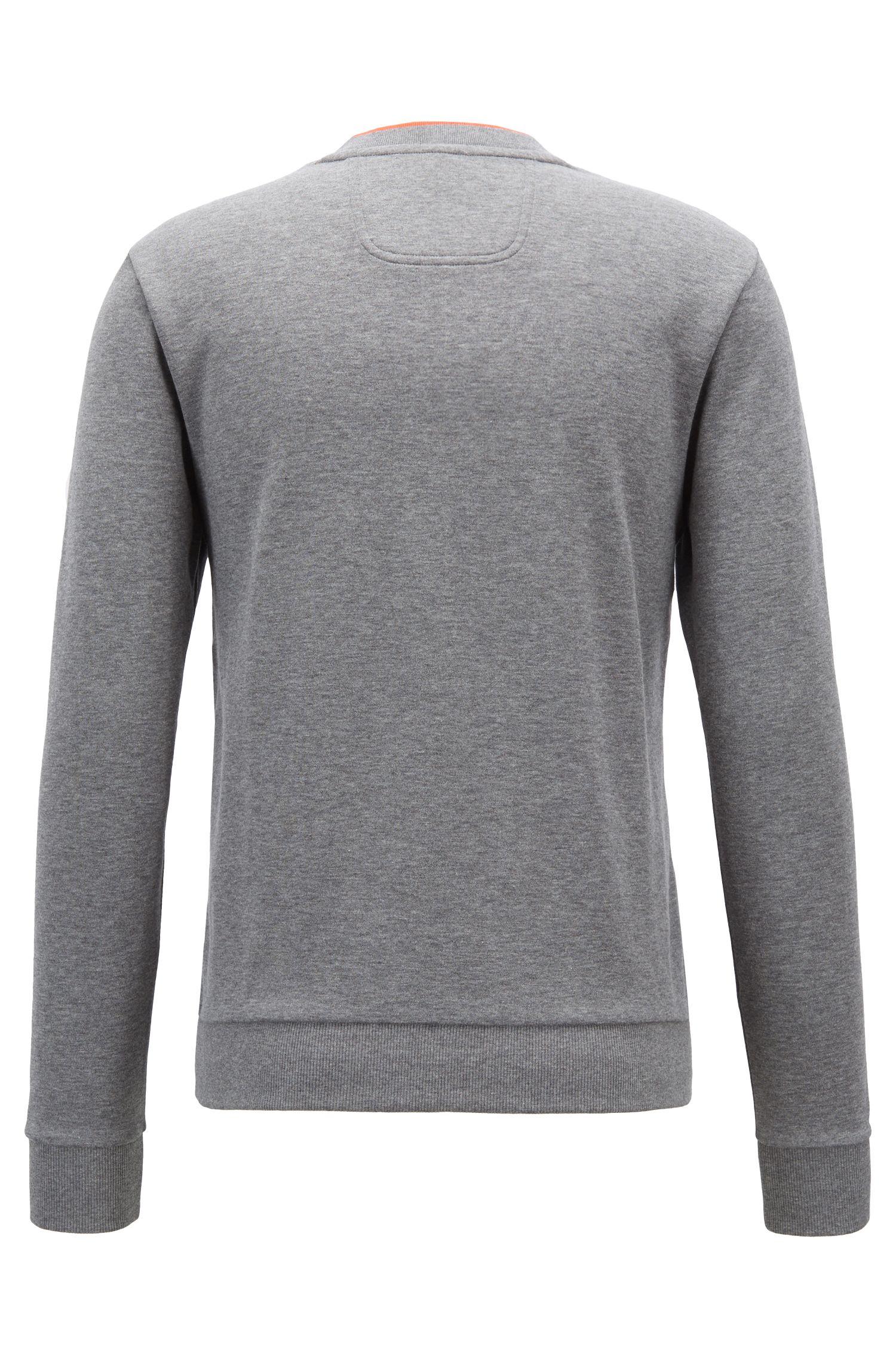Slim-fit sweatshirt with tonal embossed logo, Grey