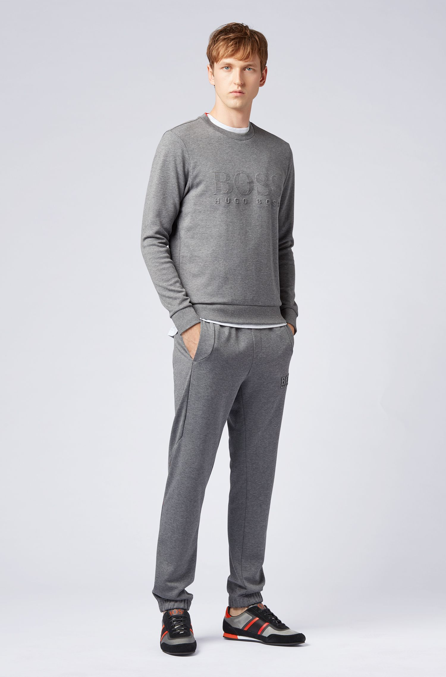Slim-fit sweatshirt with tonal embossed logo, Grey