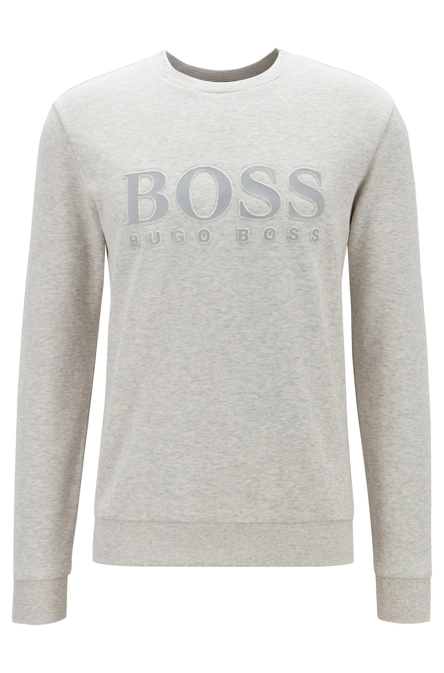 Slim-fit sweater met ton-sur-ton reliëflogo, Lichtgrijs