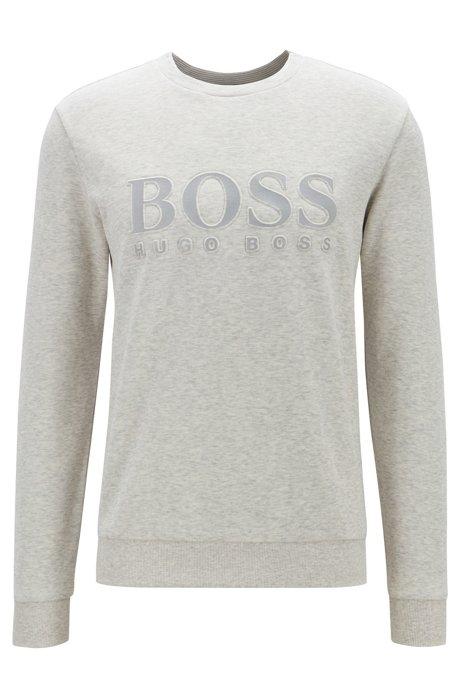 Sweatshirt mit tonaler Logo-Prägung, Hellgrau