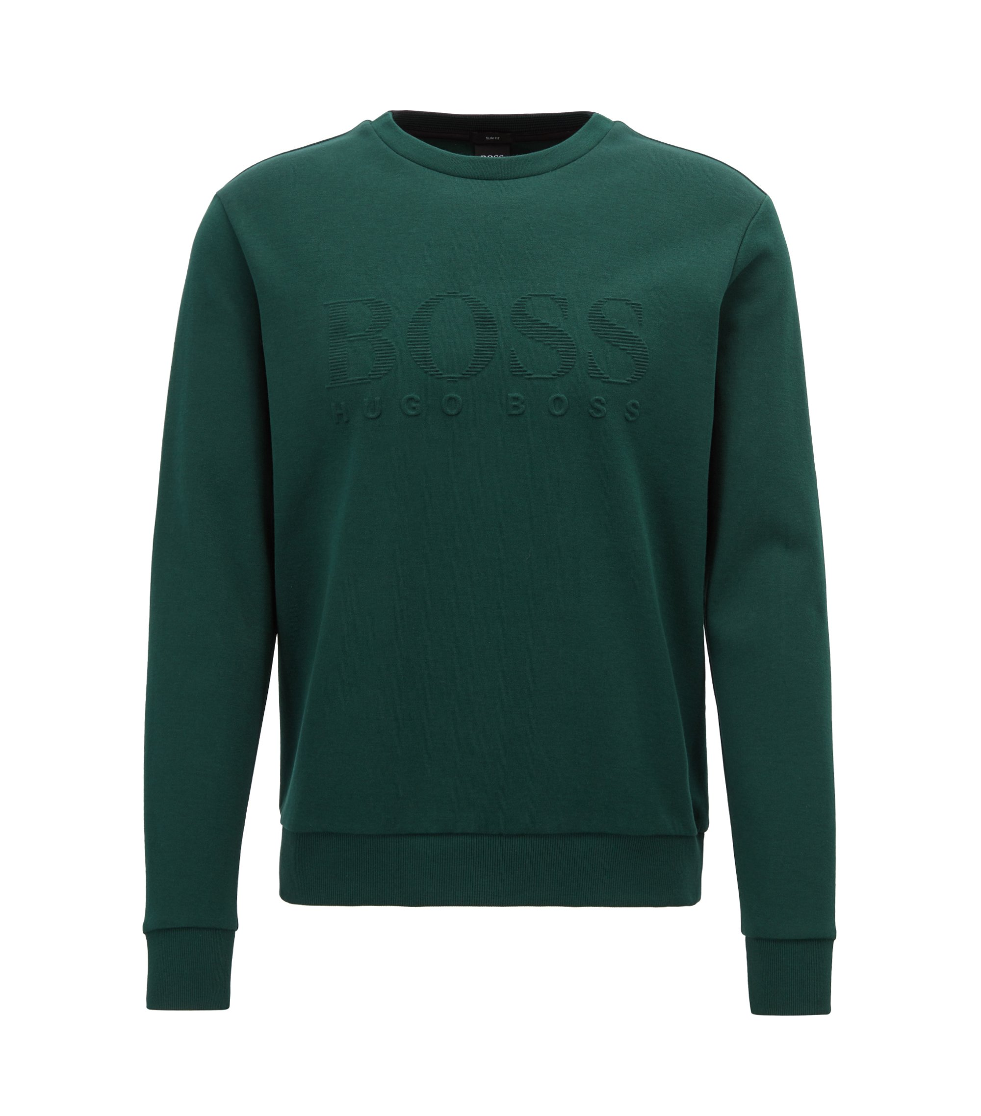 Slim-fit sweatshirt with tonal embossed logo, Grün