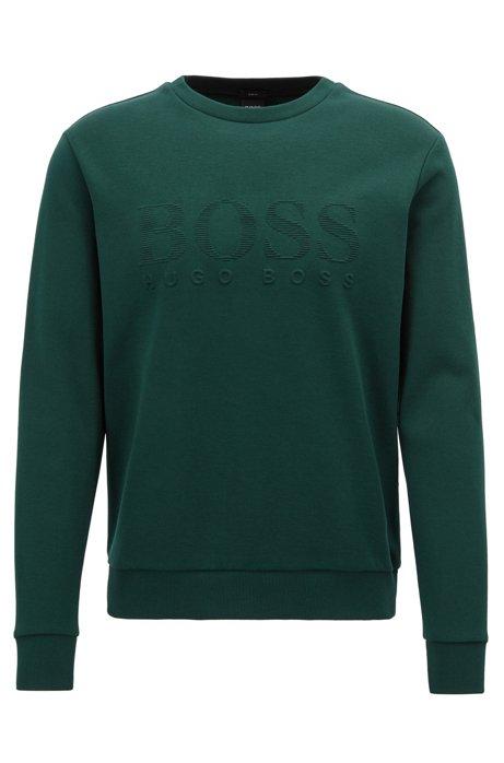 Sweatshirt mit tonaler Logo-Prägung, Grün