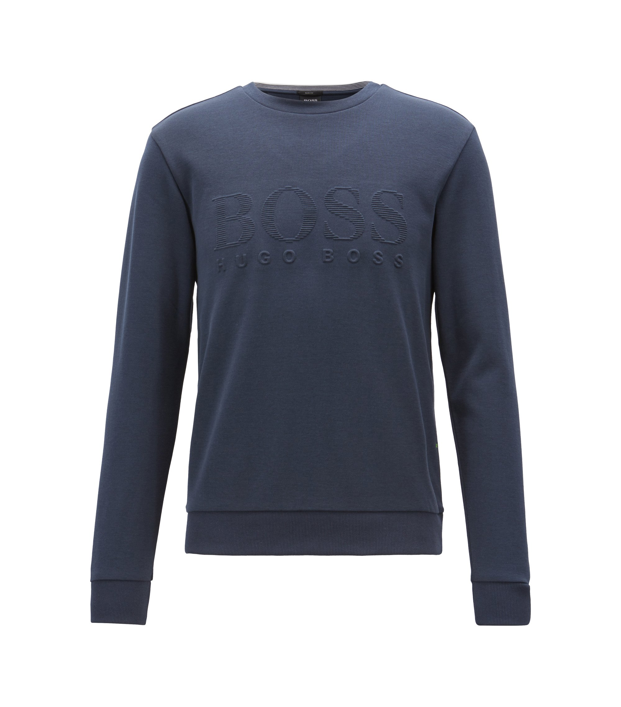 Slim-fit sweatshirt with tonal embossed logo, Dunkelblau
