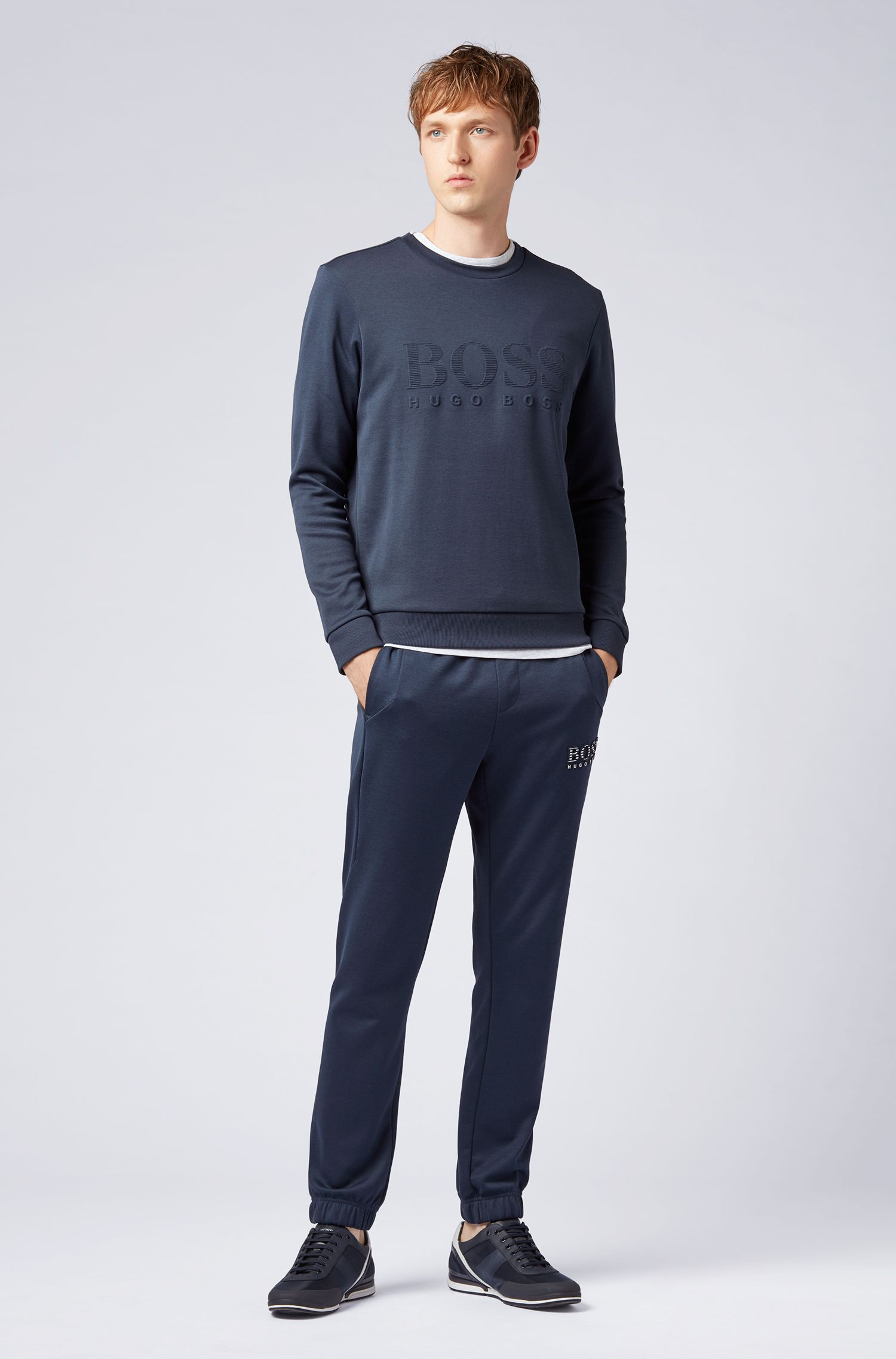 Slim-fit sweatshirt with tonal embossed logo, Dark Blue
