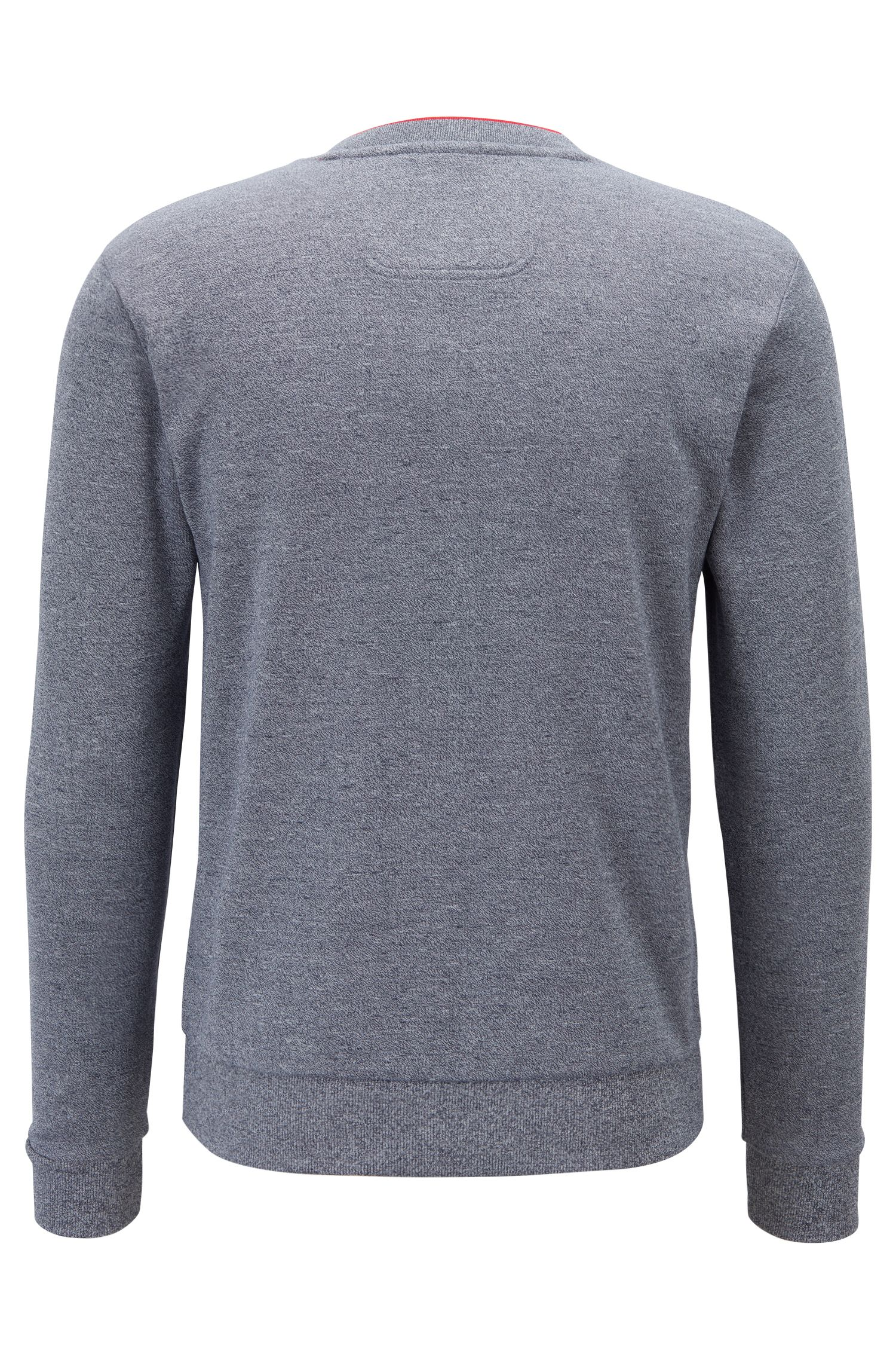 Slim-fit sweatshirt with tonal embossed logo, Blue