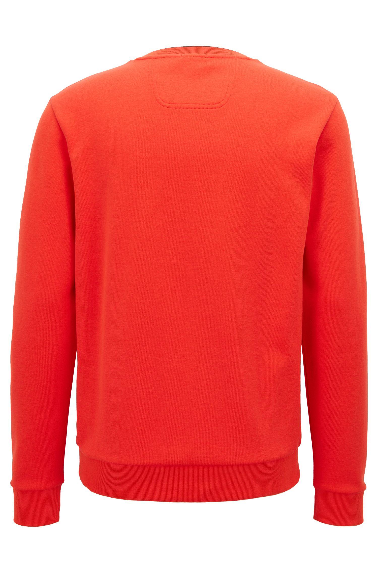 Slim-fit sweatshirt with tonal embossed logo, Orange