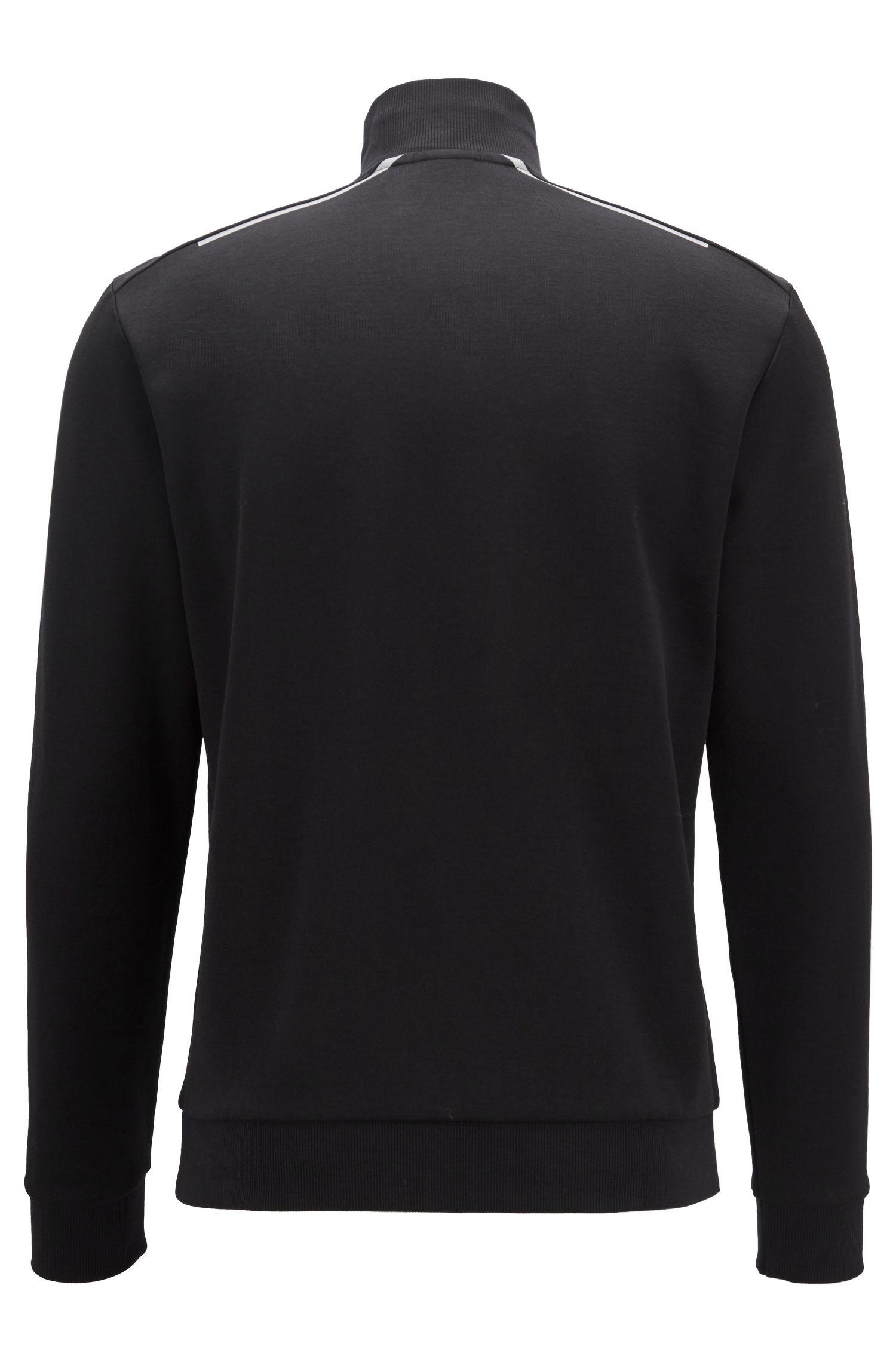 Sudadera con cremallera en mezcla de algodón con detalles reflectantes, Negro
