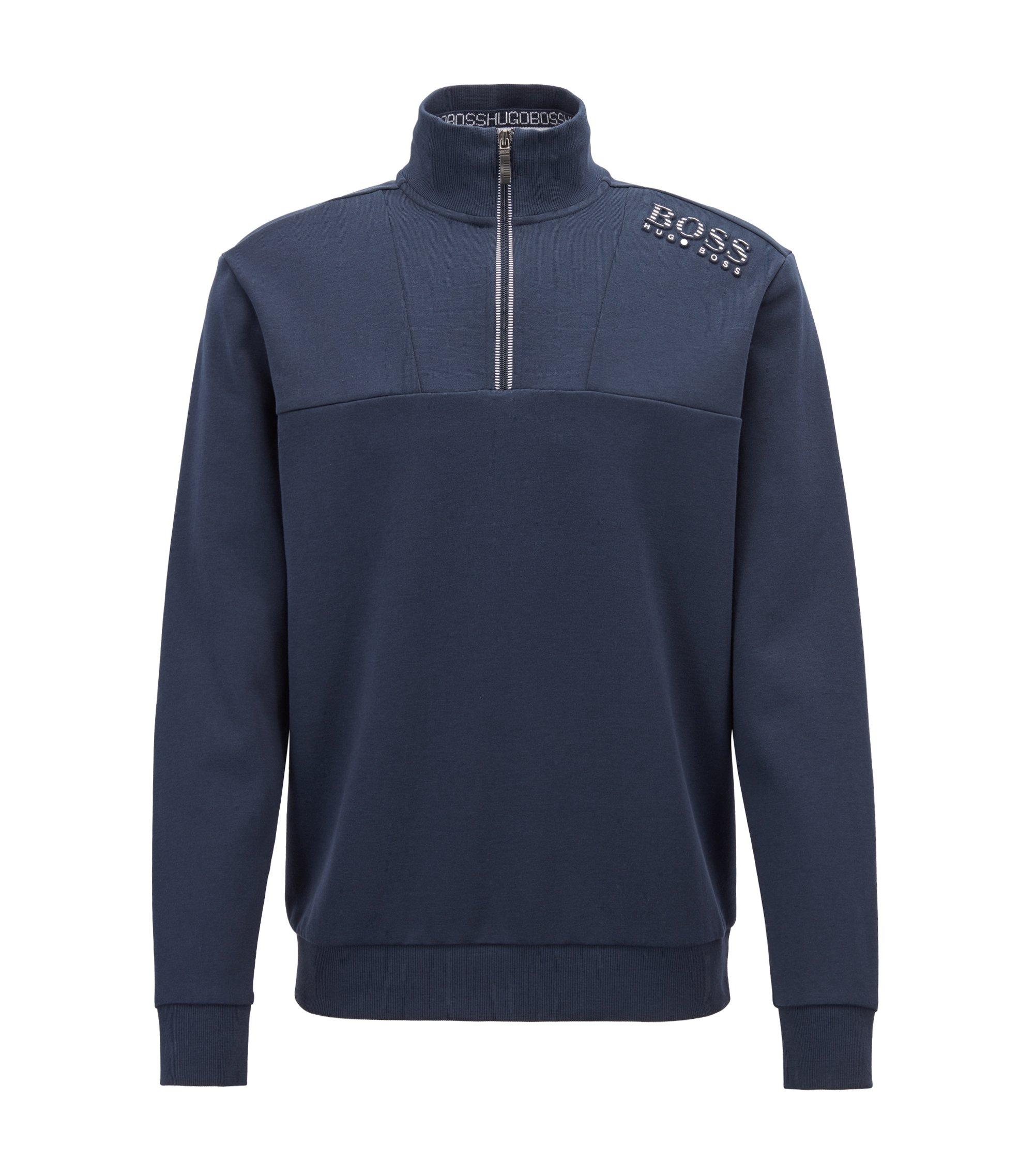 Sweater van een katoenmix met ritskraag en reflecterende details, Donkerblauw