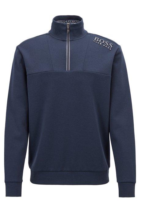 Zip-neck cotton-blend sweatshirt with reflective detailing, Dark Blue