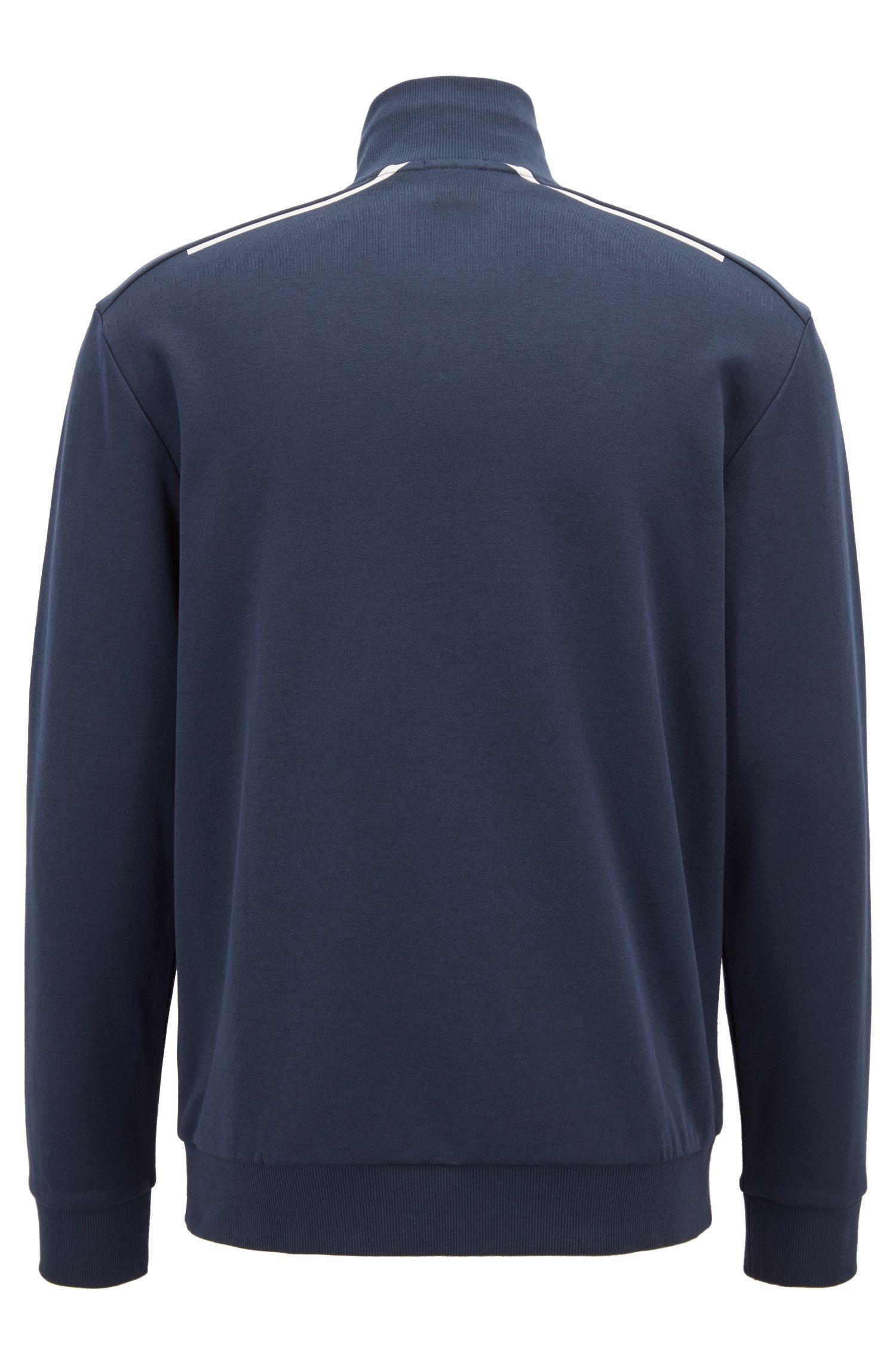 Sudadera con cremallera en mezcla de algodón con detalles reflectantes, Azul oscuro