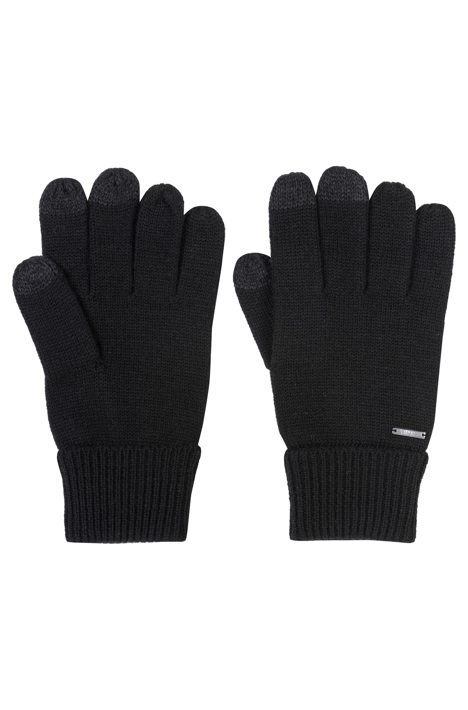 Gants en laine mélangée à doigts tactiles, Noir