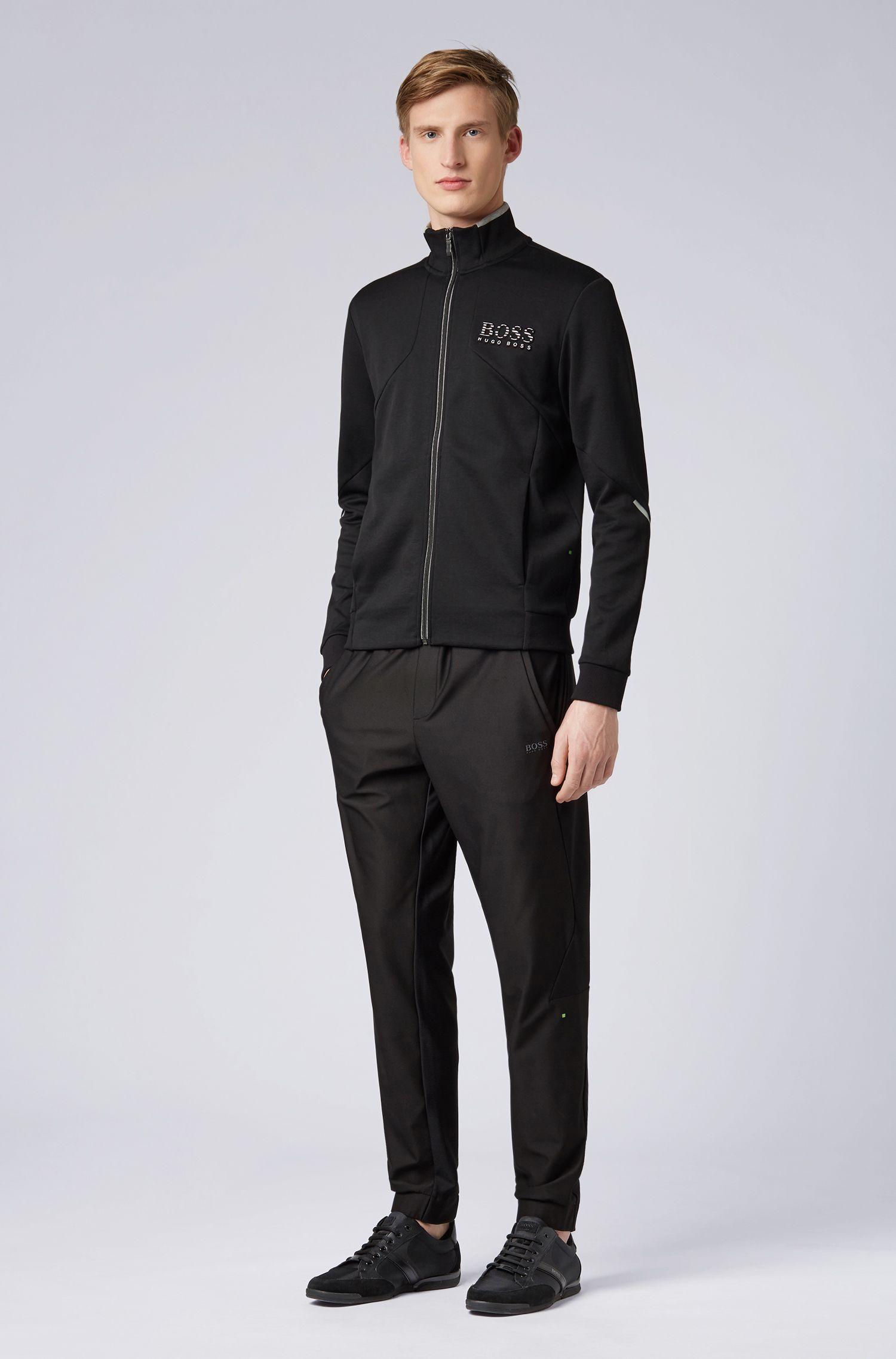 Sweat zippé Regular Fit avec détails réfléchissants, Noir