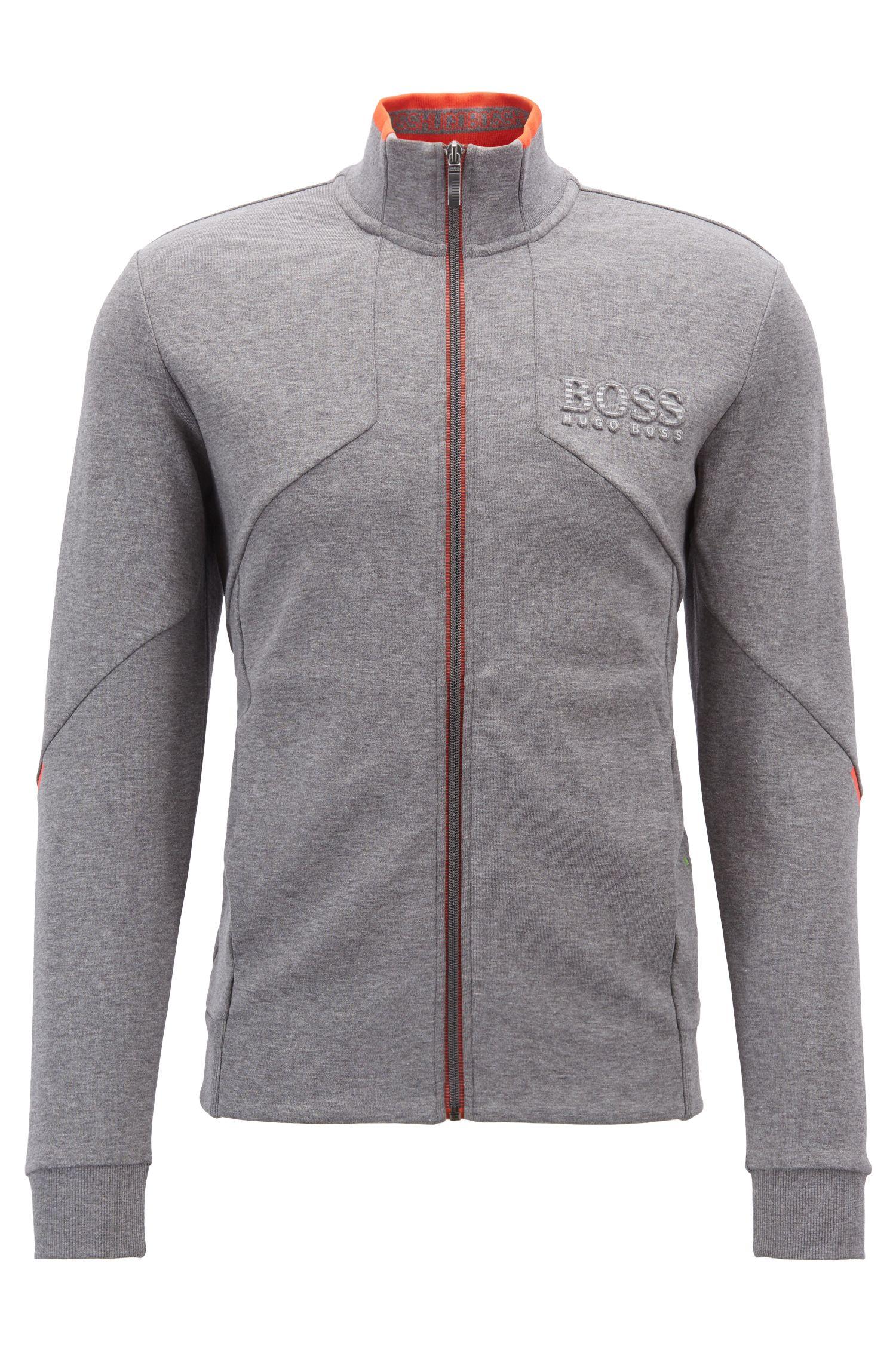 Sweatjacke aus Baumwoll-Mix mit Reißverschluss und reflektierenden Details, Grau