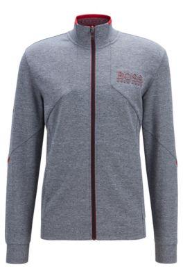 Regular-fit sweatshirt met ritssluiting en reflecterende details, Lichtblauw