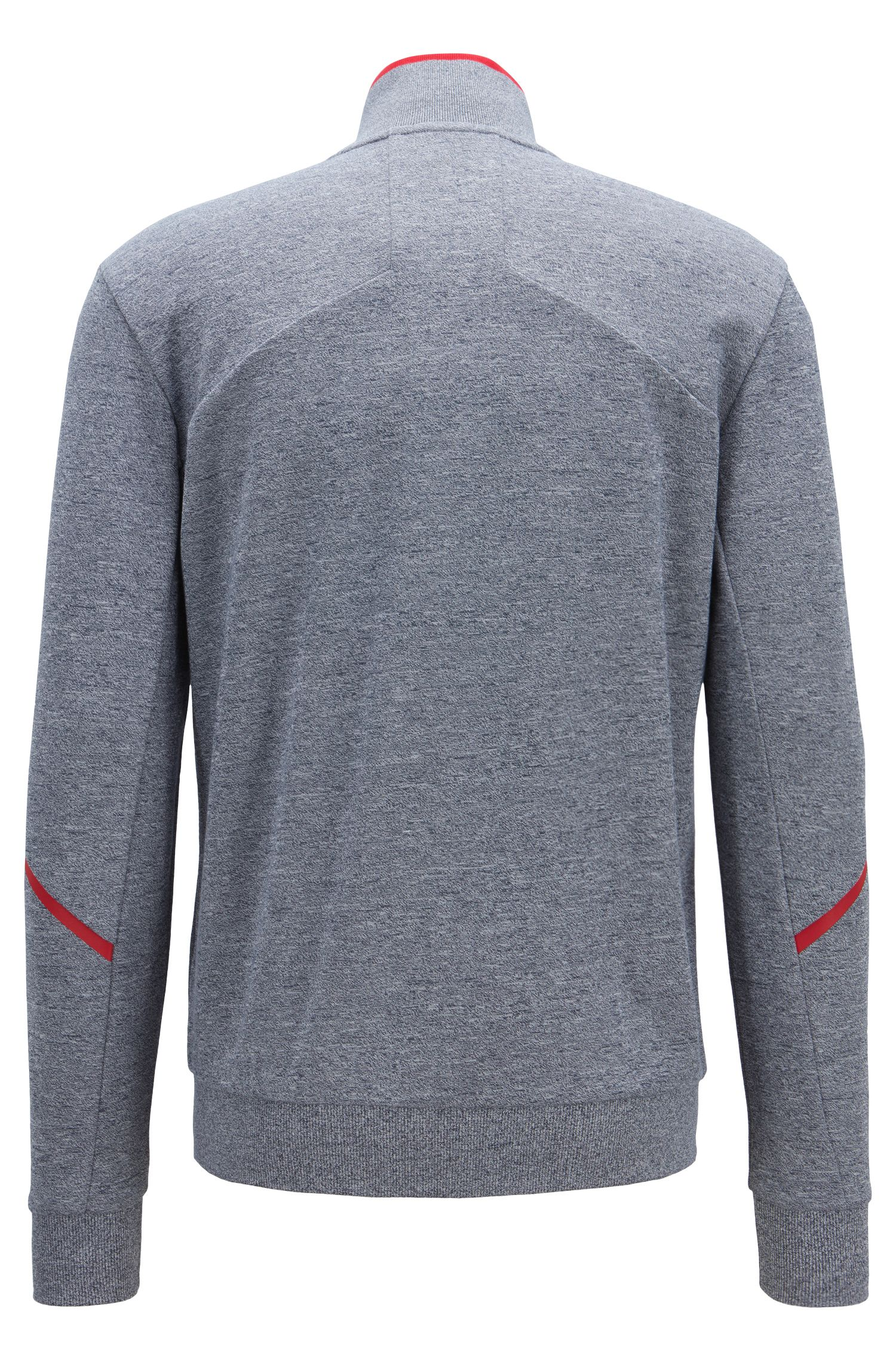 Sweatjacke aus Baumwoll-Mix mit Reißverschluss und reflektierenden Details, Hellblau