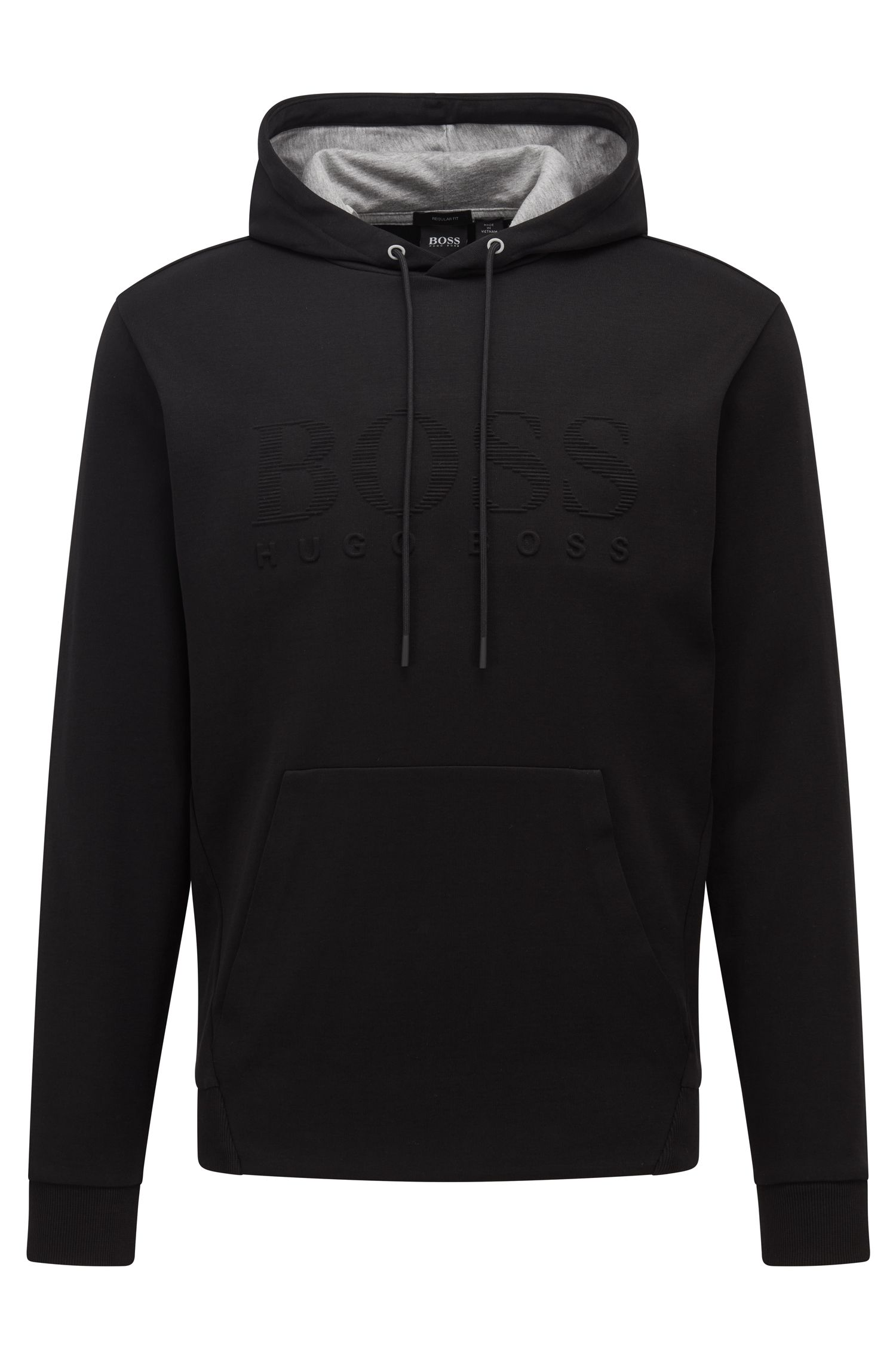 Double-faced hooded sweatshirt with embossed logo, Black