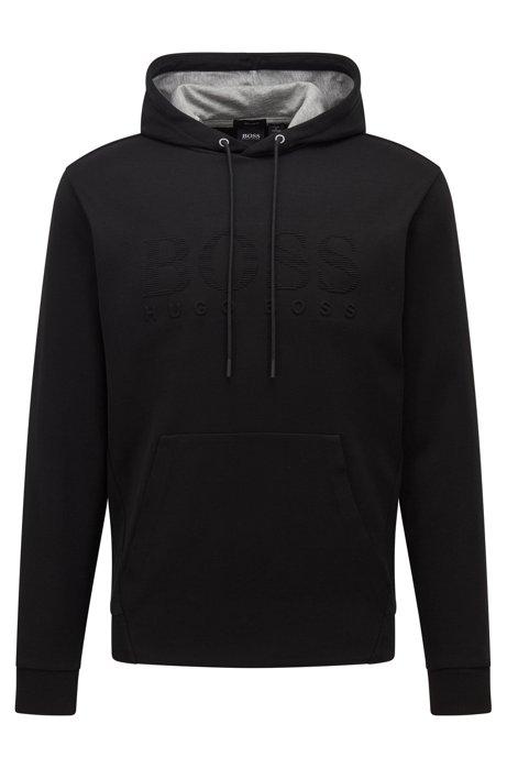 Kapuzen-Sweatshirt aus zweiseitigem Baumwoll-Mix mit Logo-Prägung, Schwarz
