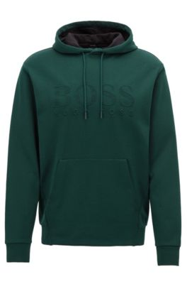 Dubbellaagse sweater met capuchon en reliëflogo, Groen