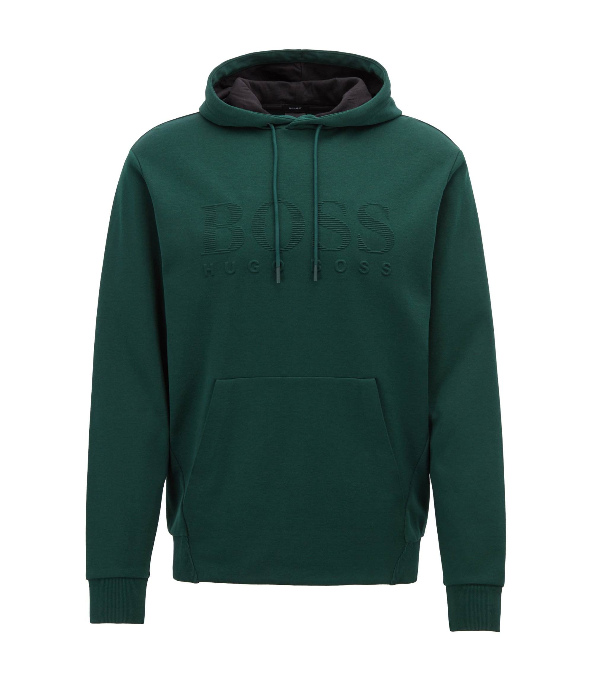 Double-faced hooded sweatshirt with embossed logo, Grün