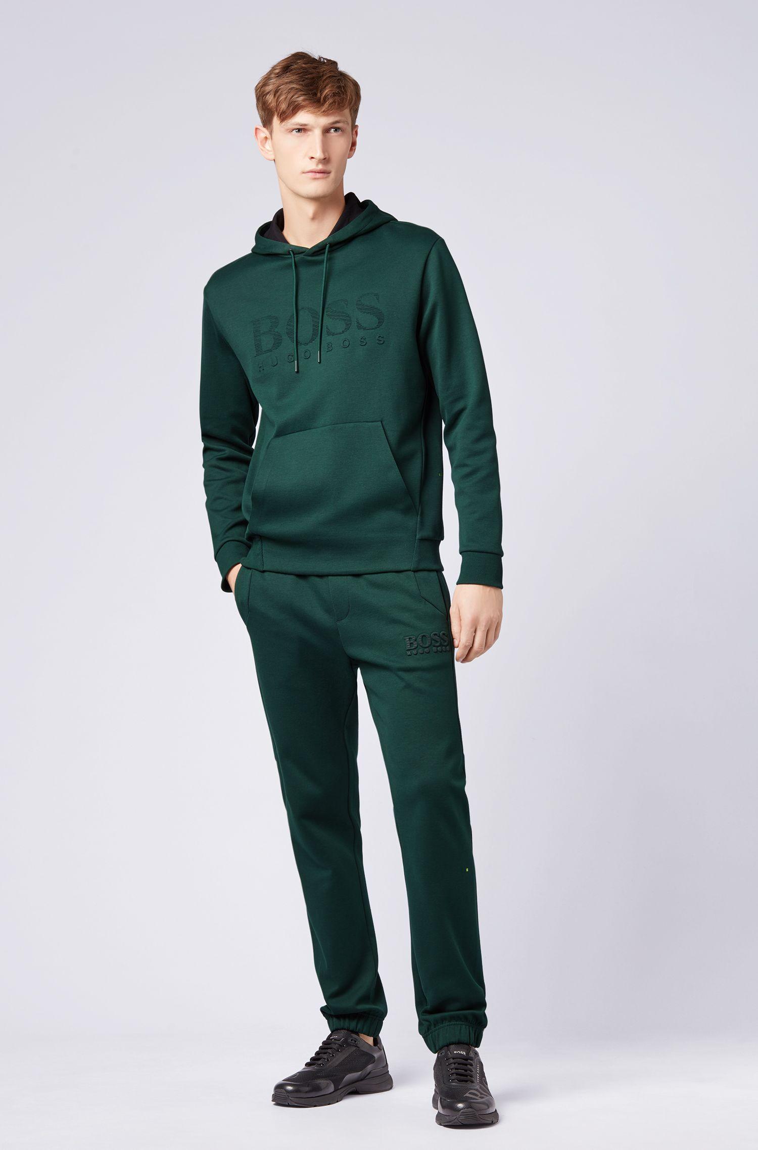 Sweat à capuche en tissu double face avec logo embossé, Vert