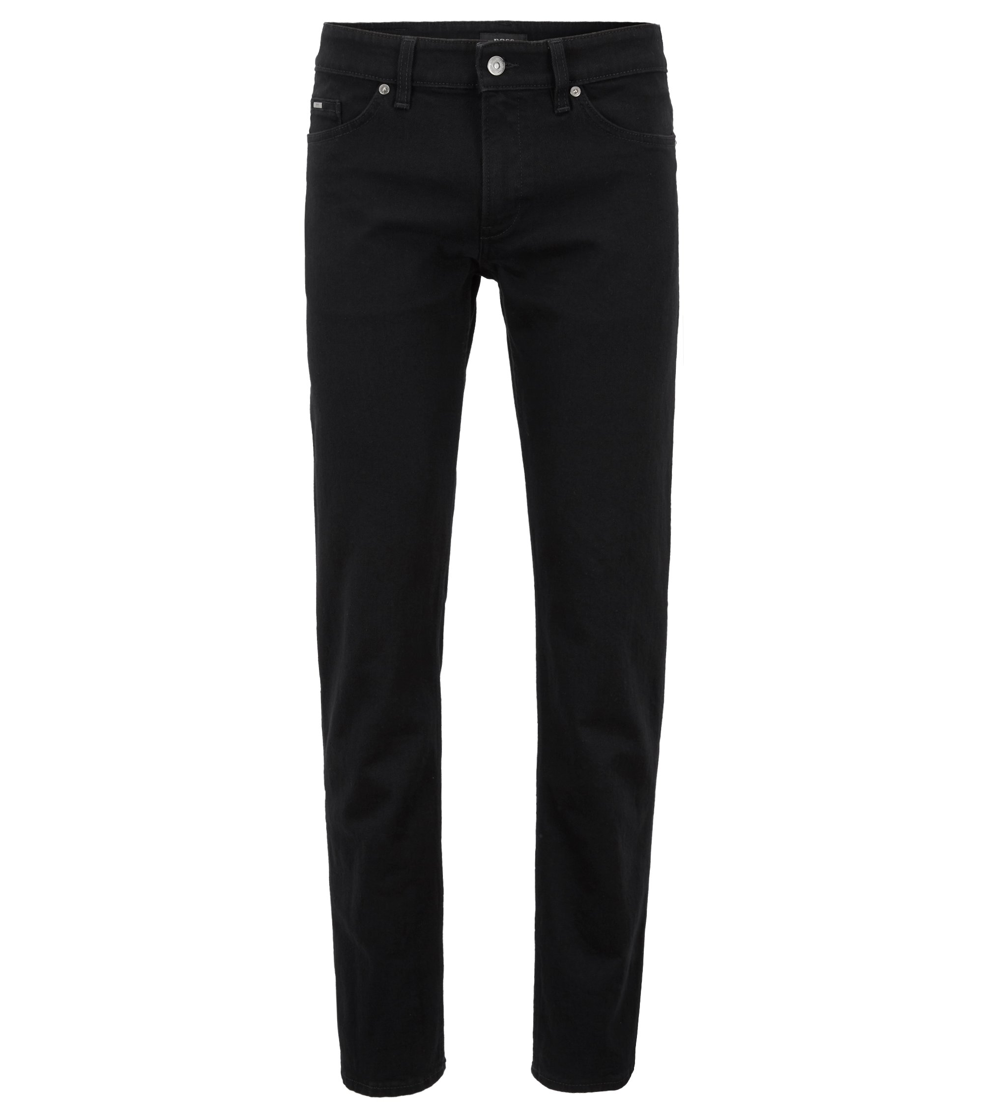 Slim-fit jeans in deep-black stretch denim, Black