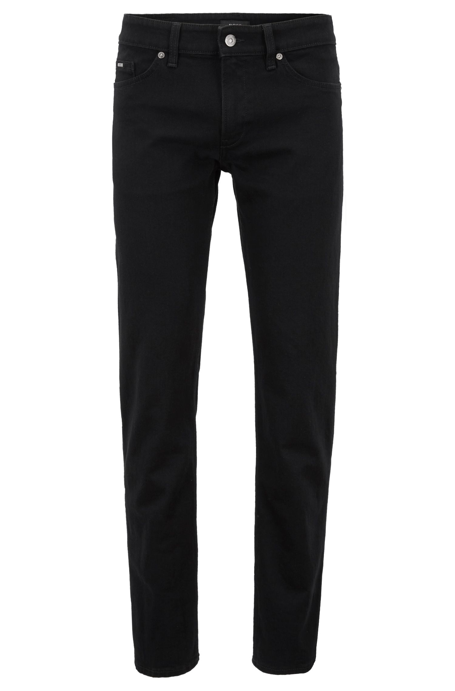Jean Slim Fit en denim stretch noir profond, Noir